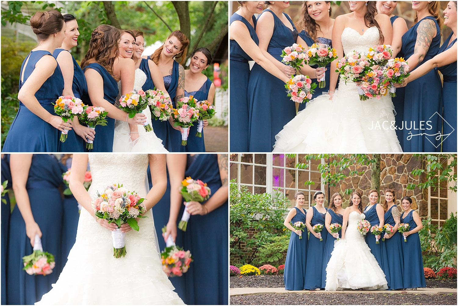 jacnjules photograph bride and bridesmaids in navy dresses at Smithville, NJ for a wedding