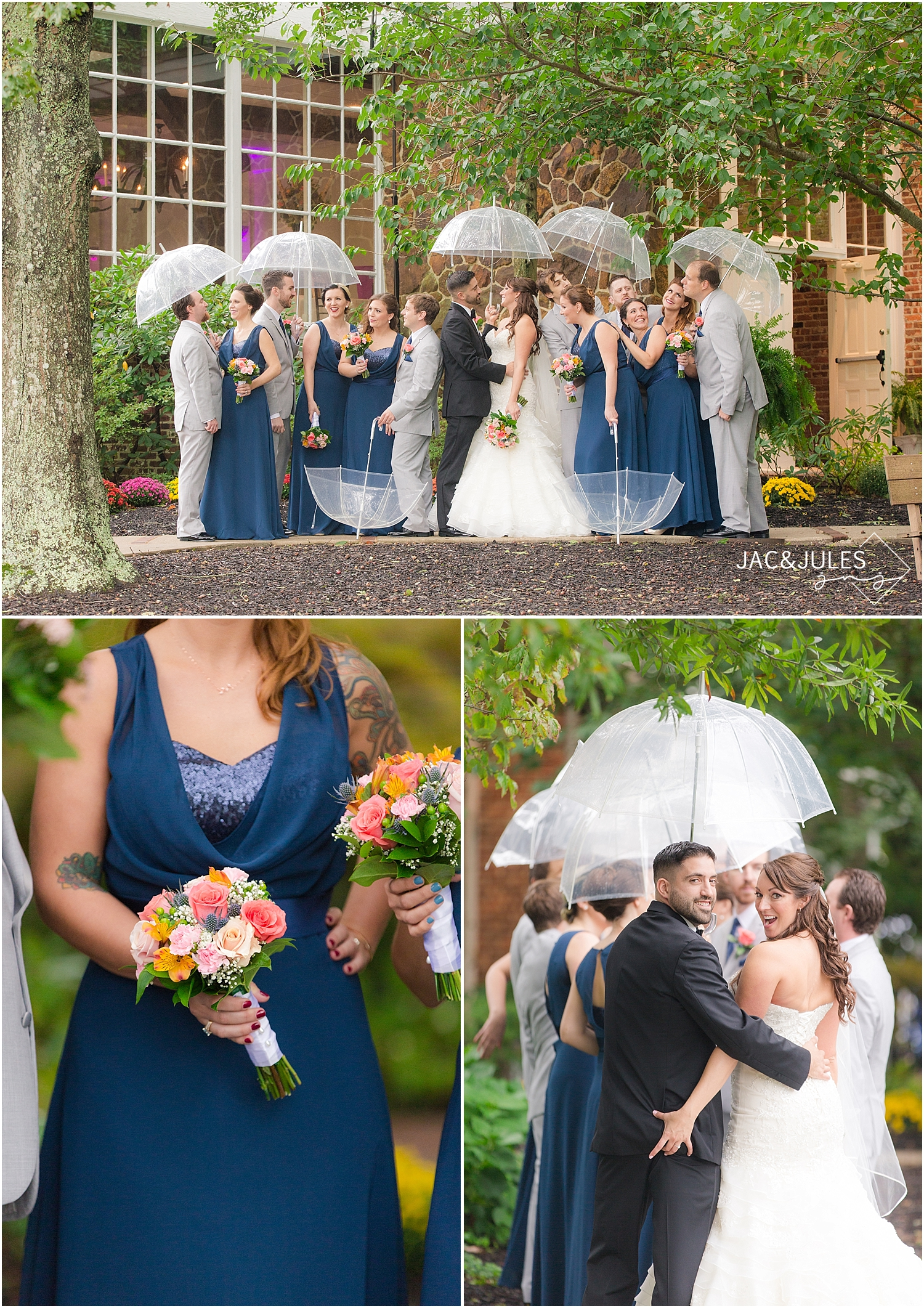 jacnjules photograph a rainy wedding with umbrellas in Smithville, NJ
