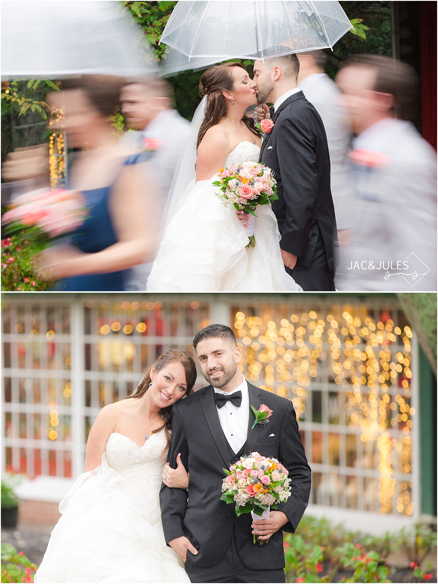 A creative photo by jacnjules of a bride and groom with an umbrella in Smithville, NJ
