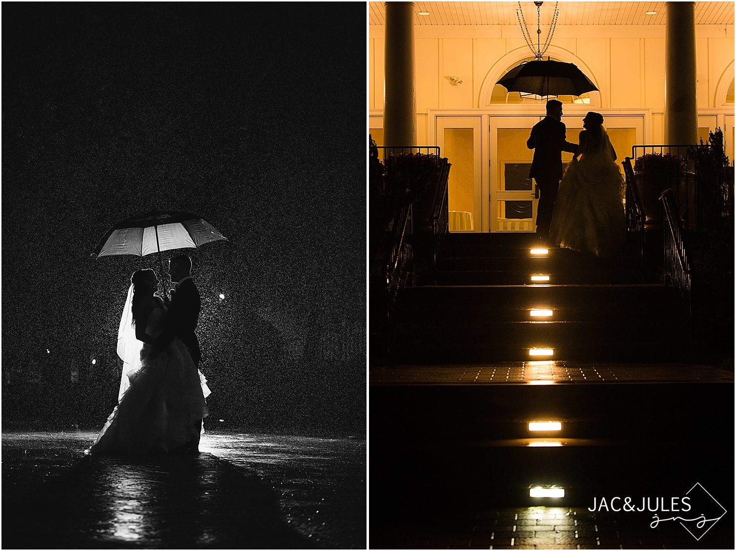 jacnjules photograph a bride and groom at night in the rain