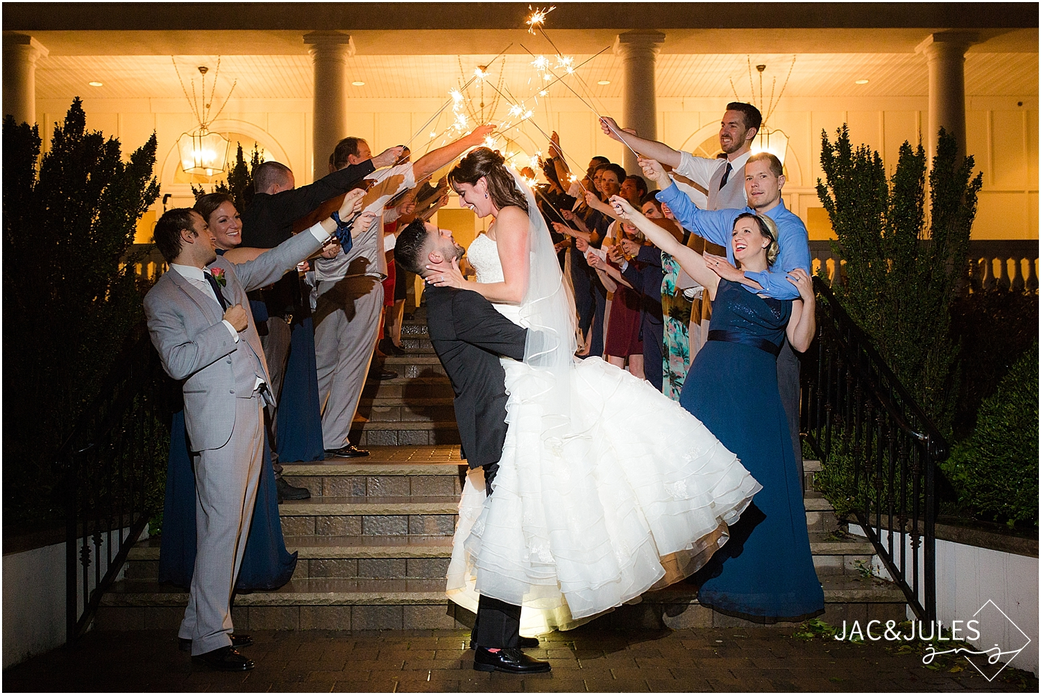 jacnjules photograph a sparkler exit at a wedding at Stockton at Seaview in Galloway, NJ