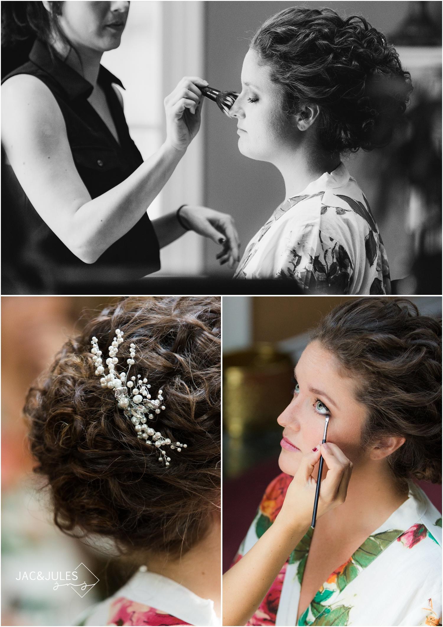 Makeup during bride prep in Manasquan NJ.