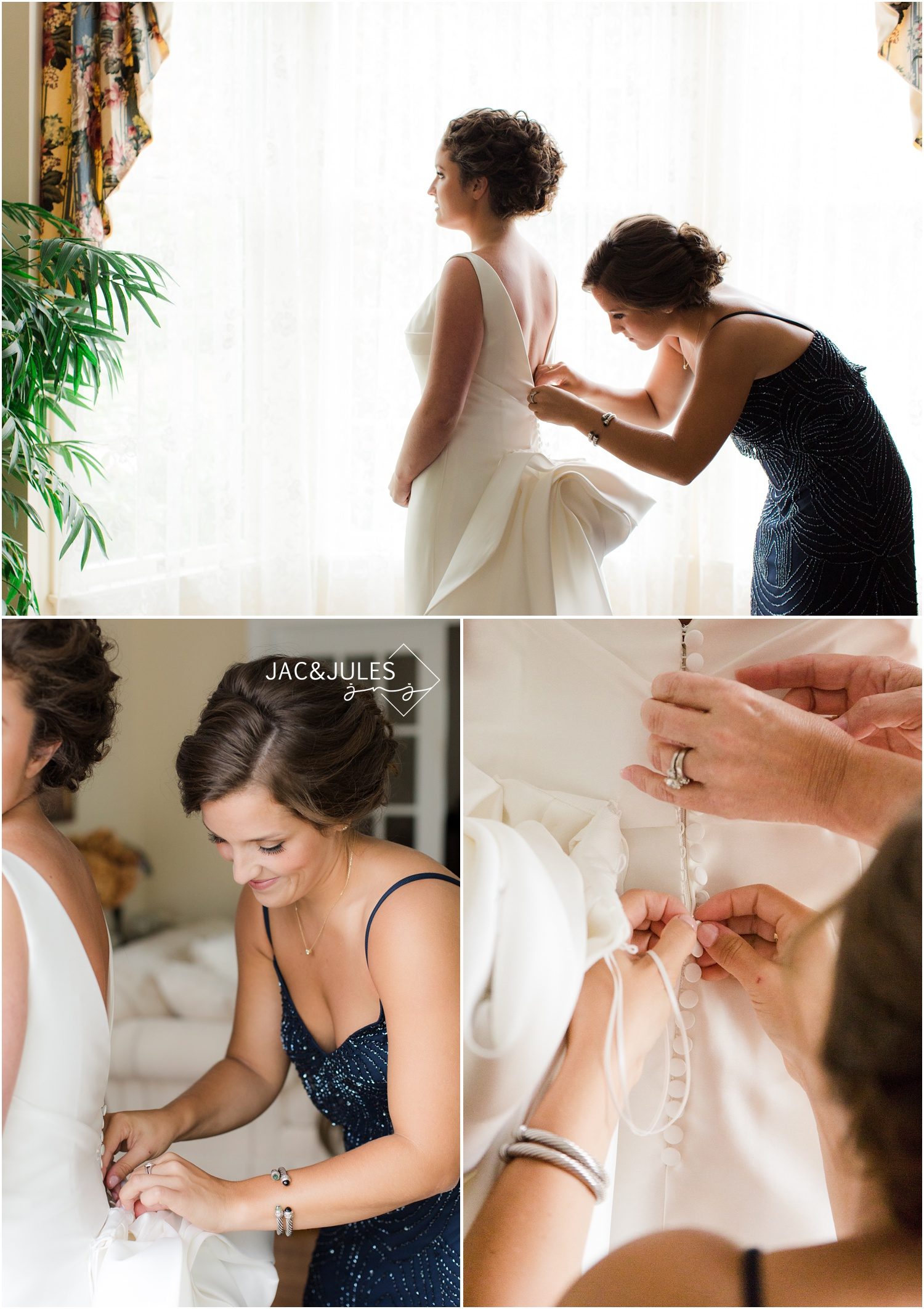 getting into bridal gown during bride prep in Manasquan NJ.