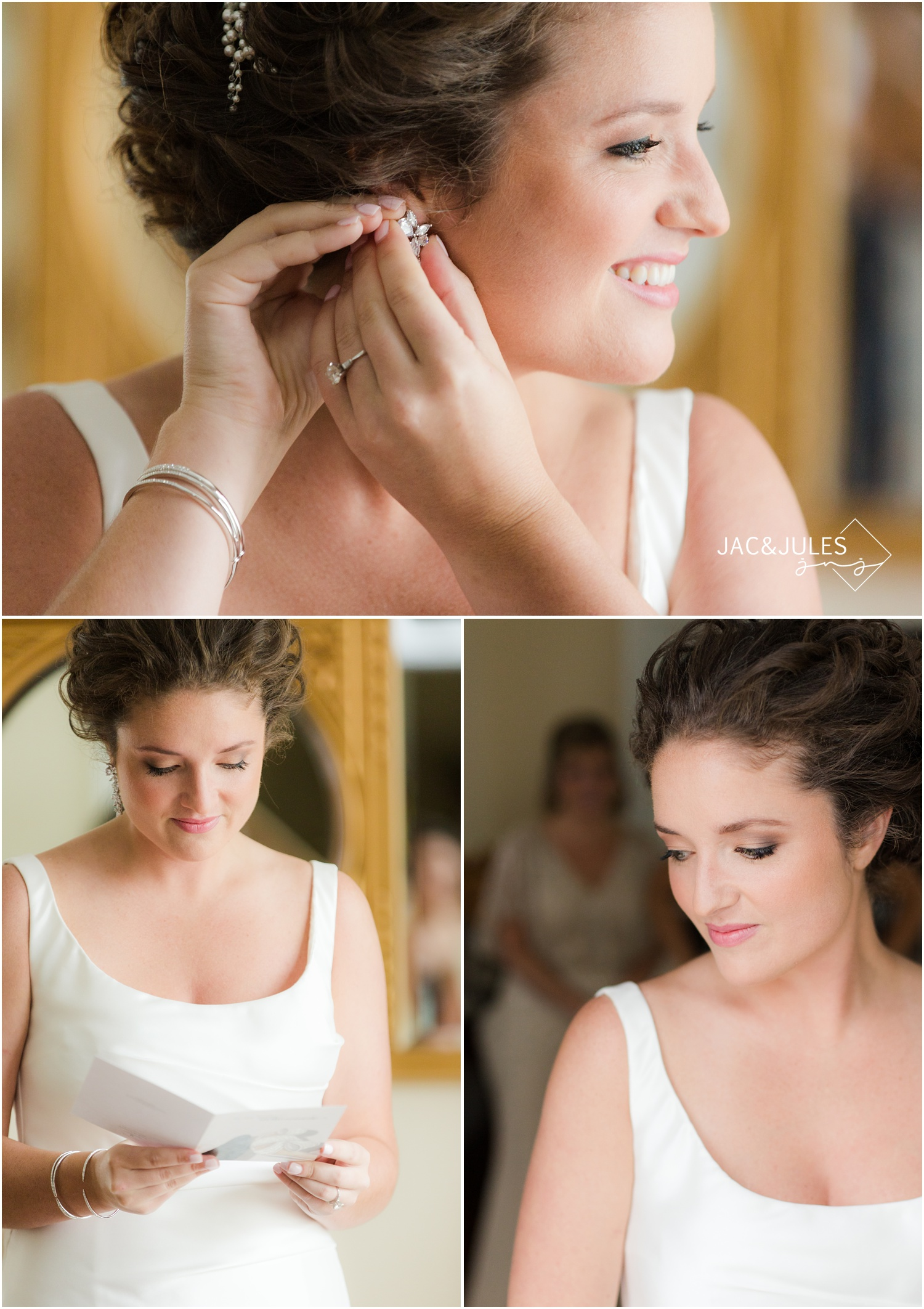 putting on jewelry during bride prep in Manasquan NJ.