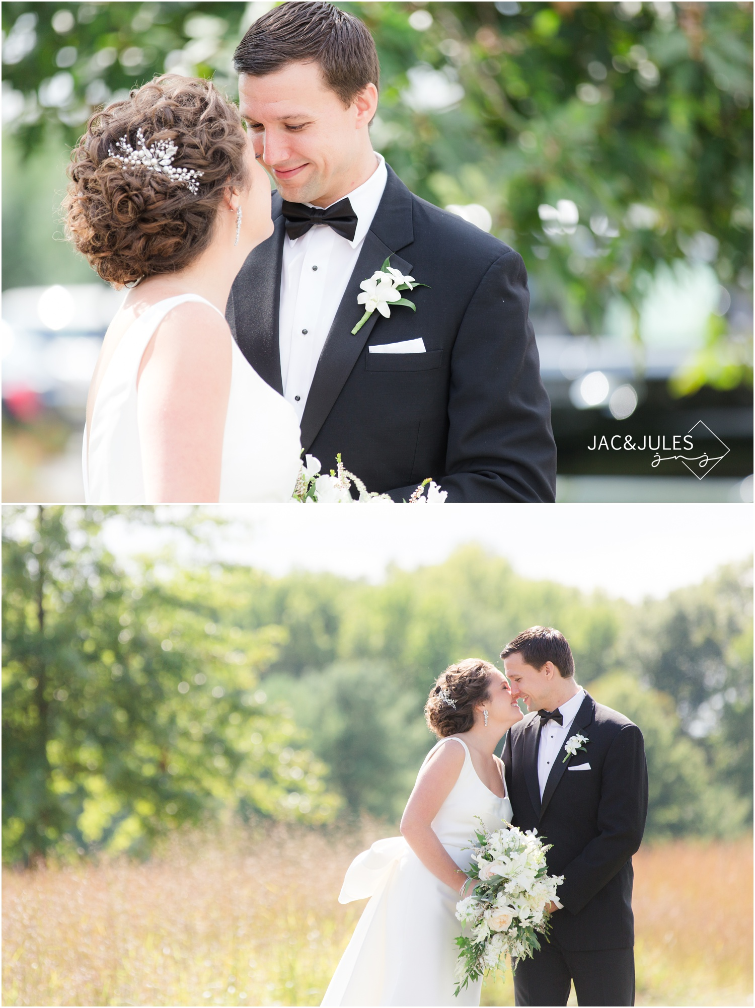 romantic bride and groom portraits at eagle oaks golf and country club in wall, nj.