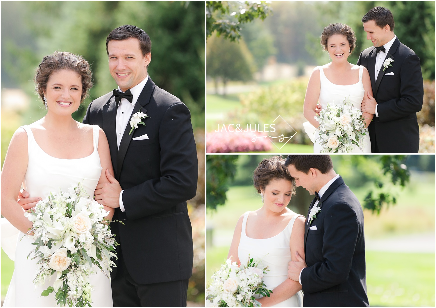 fun bride and groom portraits at eagle oaks golf and country club in wall, nj.