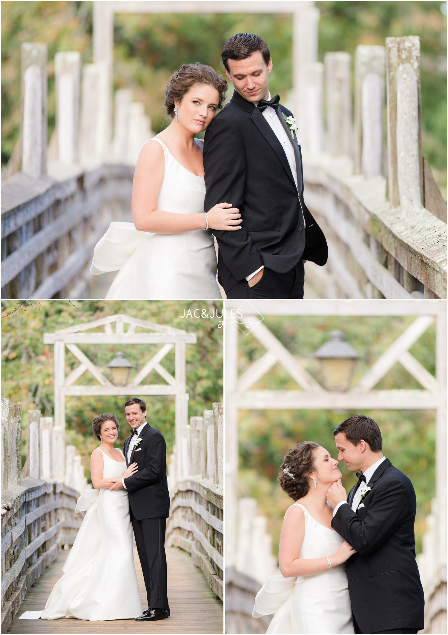 bridal party portraits on the wooden bridge at divine park in spring lake, nj.
