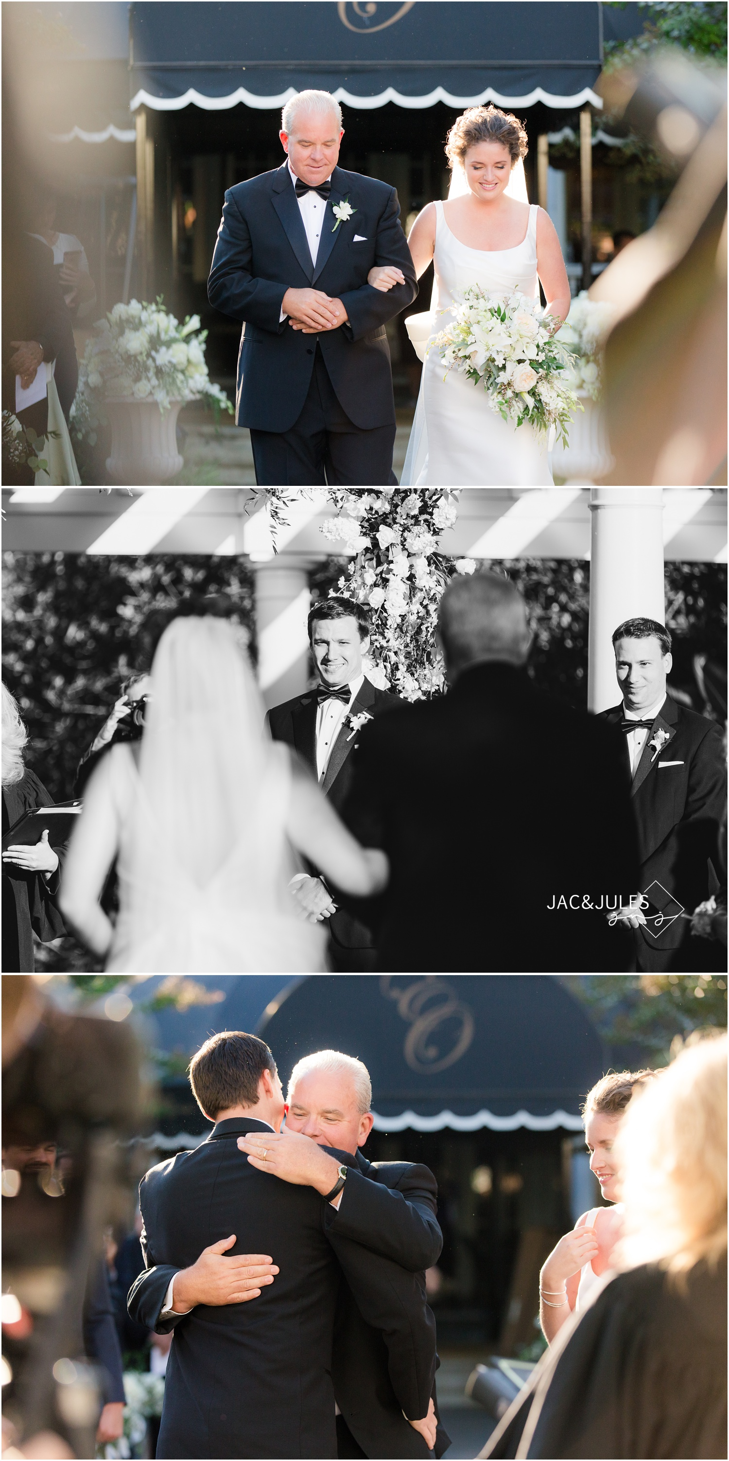 groom's reaction at wedding ceremony at eagle oaks golf and country club in wall, nj.