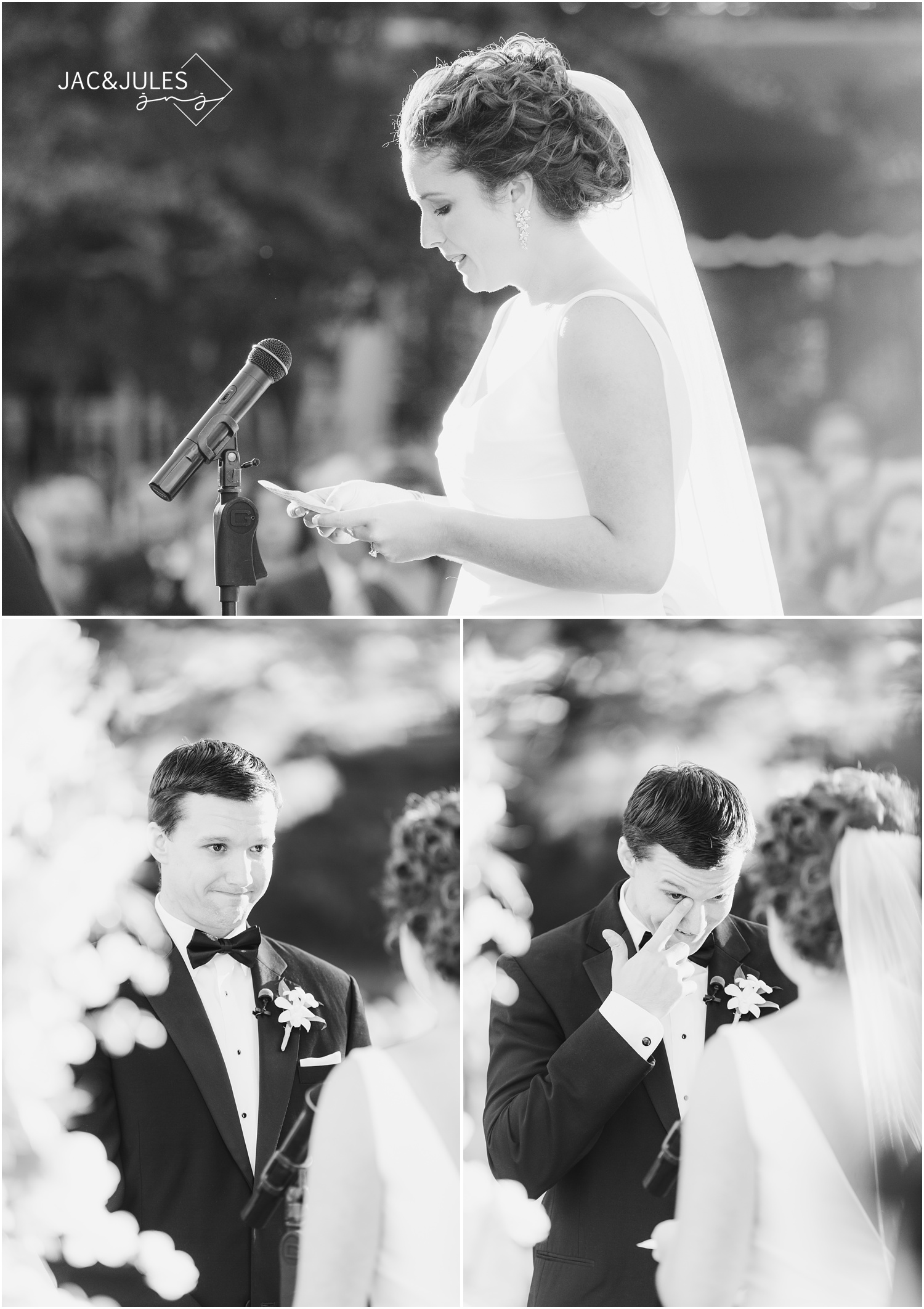 emotional vow reading at wedding ceremony at eagle oaks golf and country club in wall, nj.