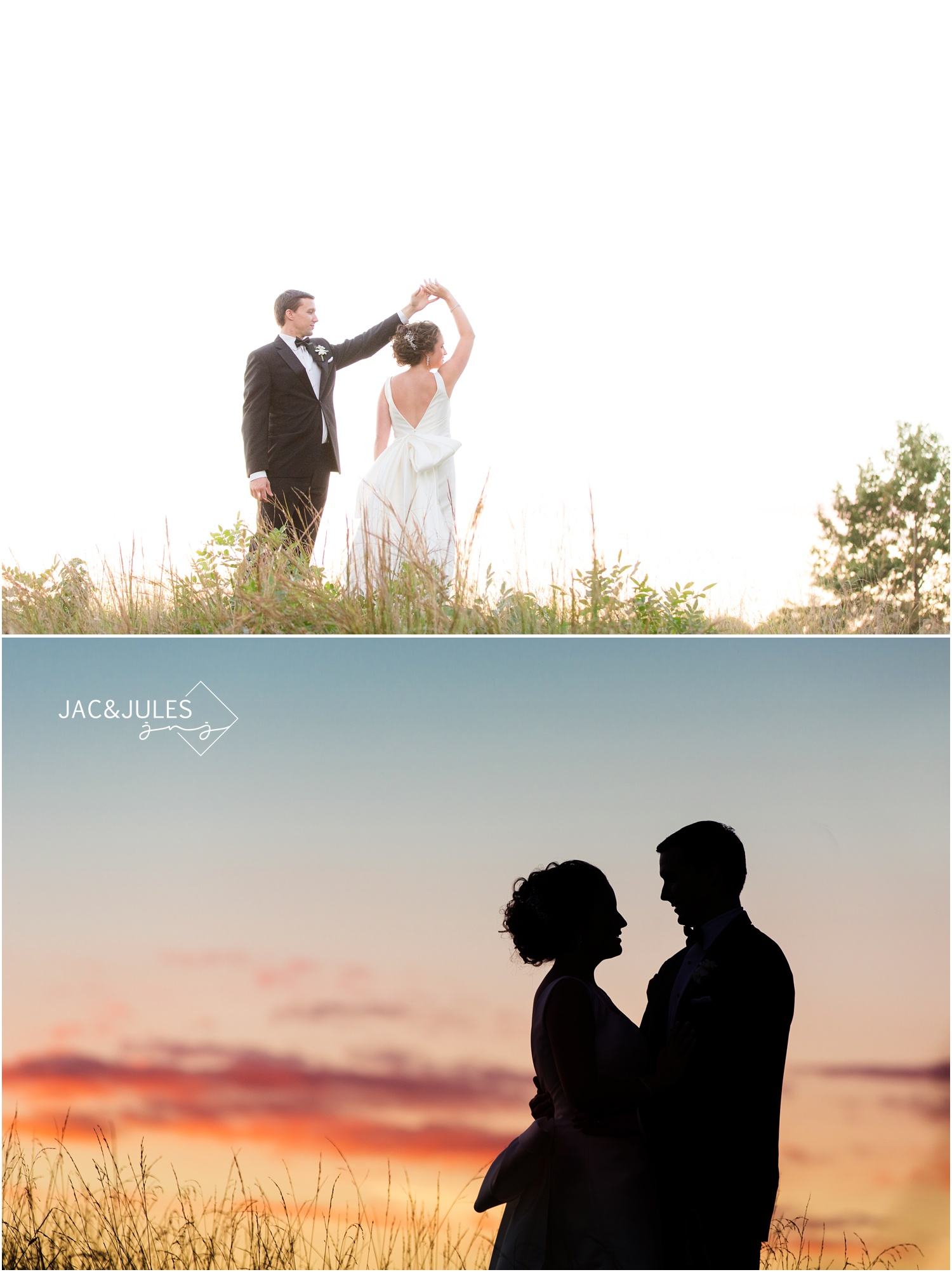 sunset photos of bride and groom at eagle oaks golf and country club in wall, nj.