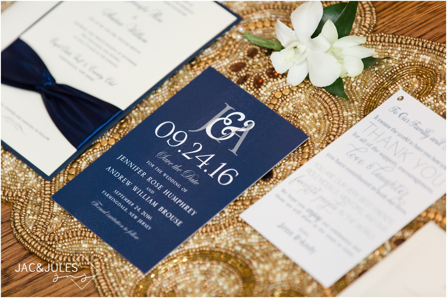 Navy and gold Wedding Stationery suite during bride prep in Manasquan NJ.