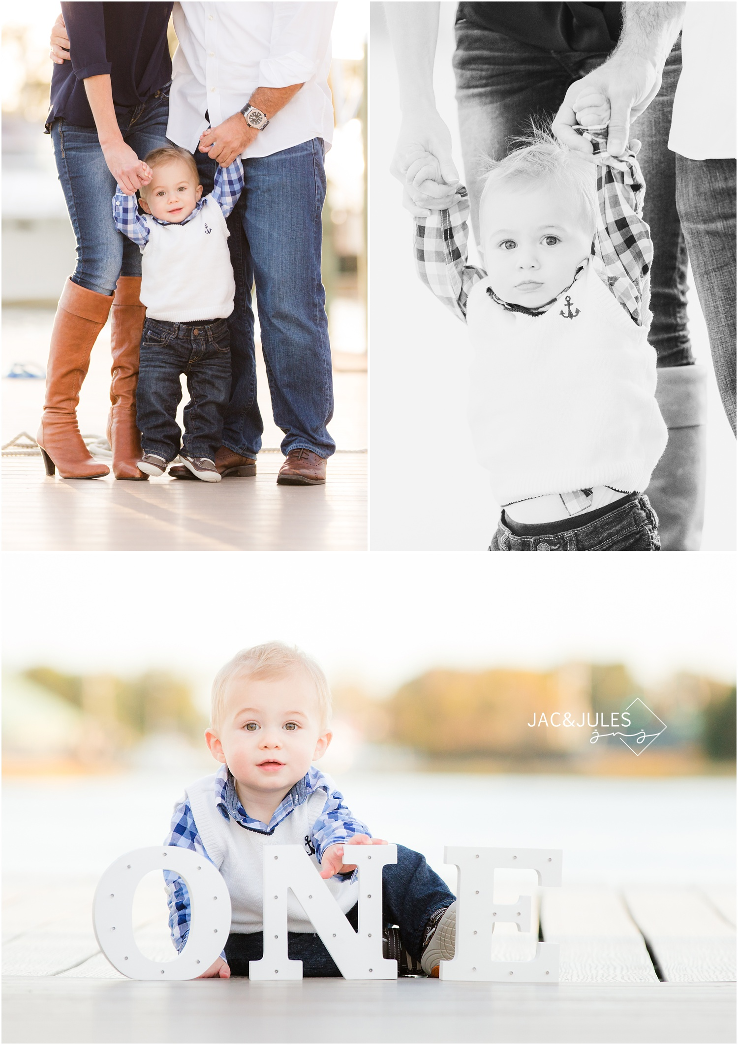 first birthday and family pictures at marina in Brielle, NJ