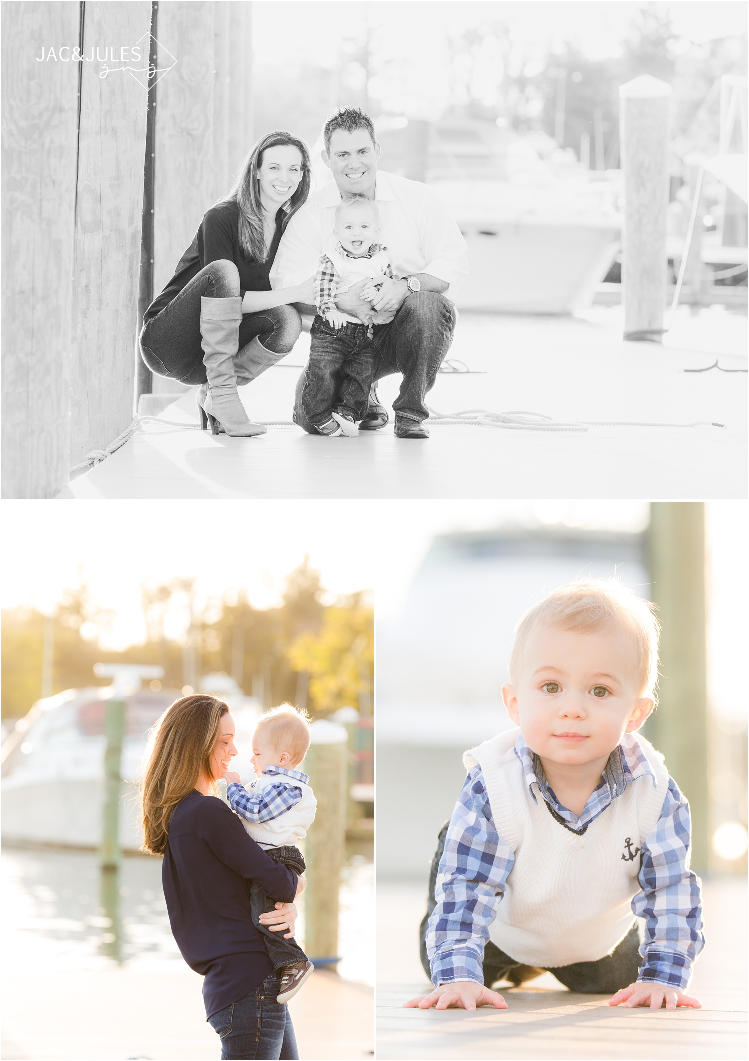 first birthday and family photo session at marina in Brielle, NJ