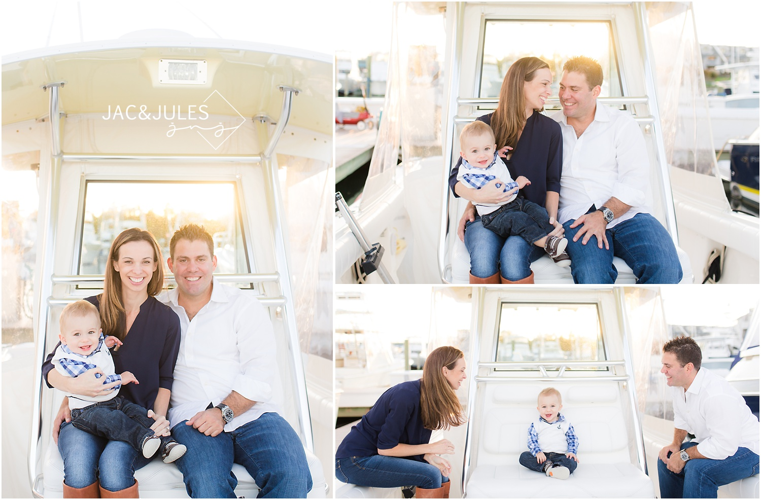 first birthday and family photos on a boat in Brielle, NJ
