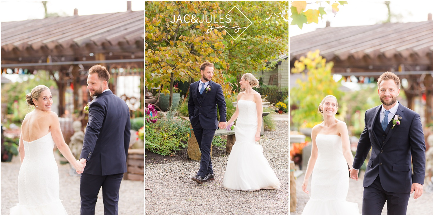 casual garden wedding photos of bride and groom in freehold, nj.