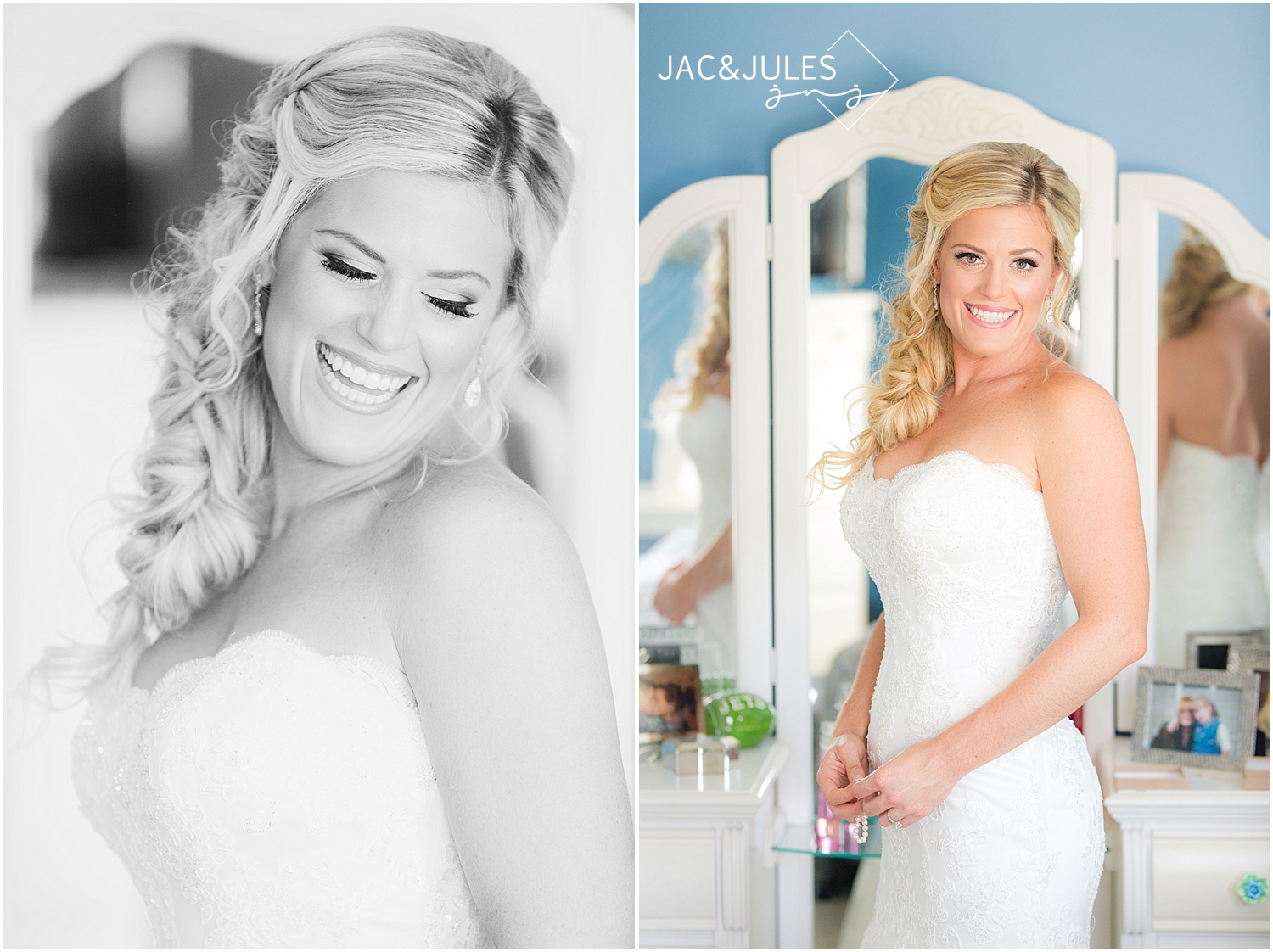 jacnjules photographs bride getting ready for her wedding at her home in wall township nj