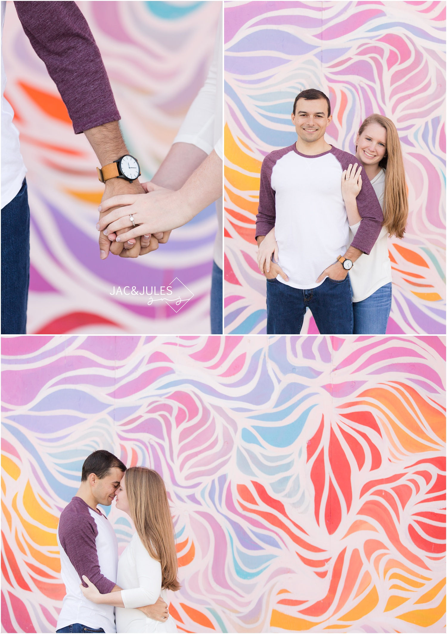 engagement photos by colorful mural at the Asbury Park Boardwalk