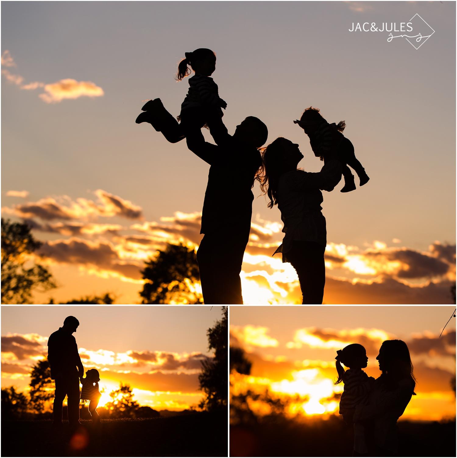 family silhouette photos at bayonet farm in holmdel, nj.