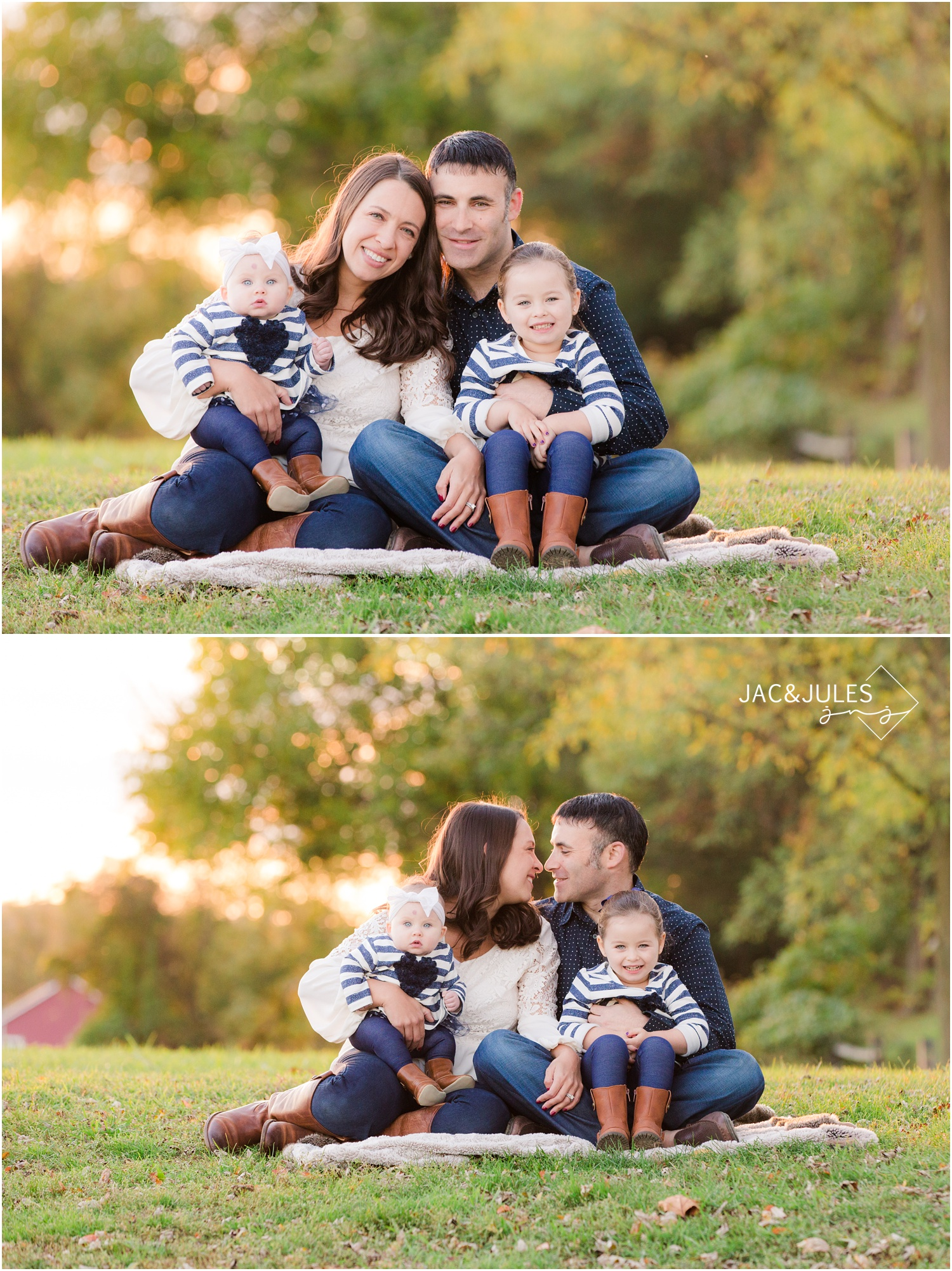 fall family photos at bayonet farm in holmdel, nj.