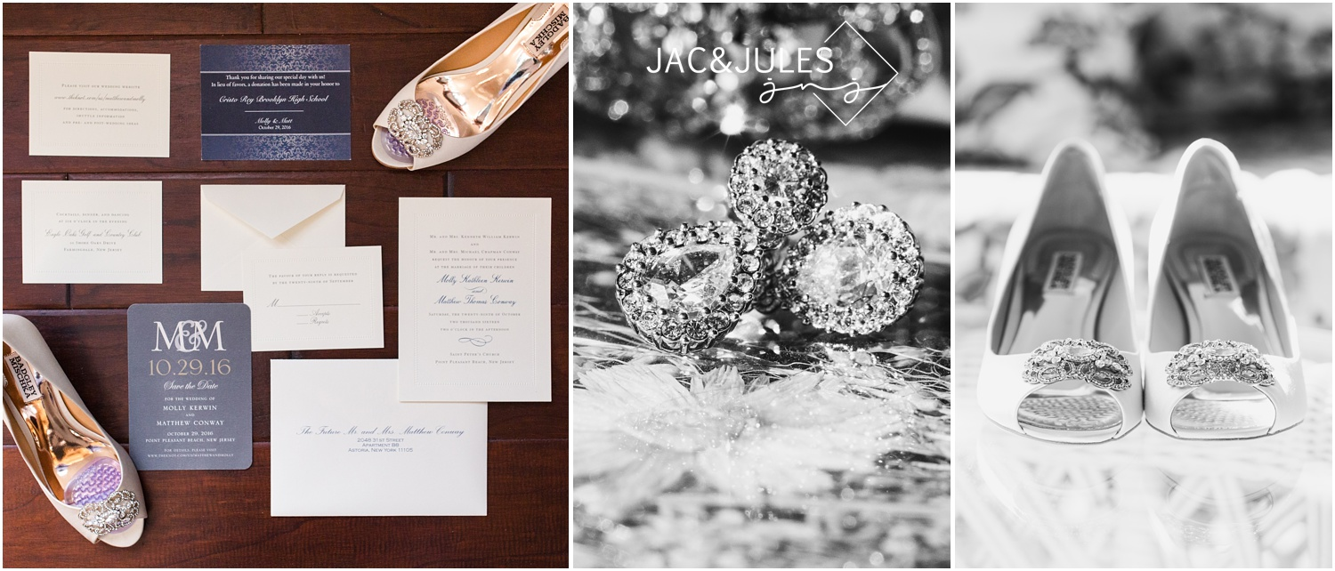 Bridal jewelry, shoes and wedding stationery