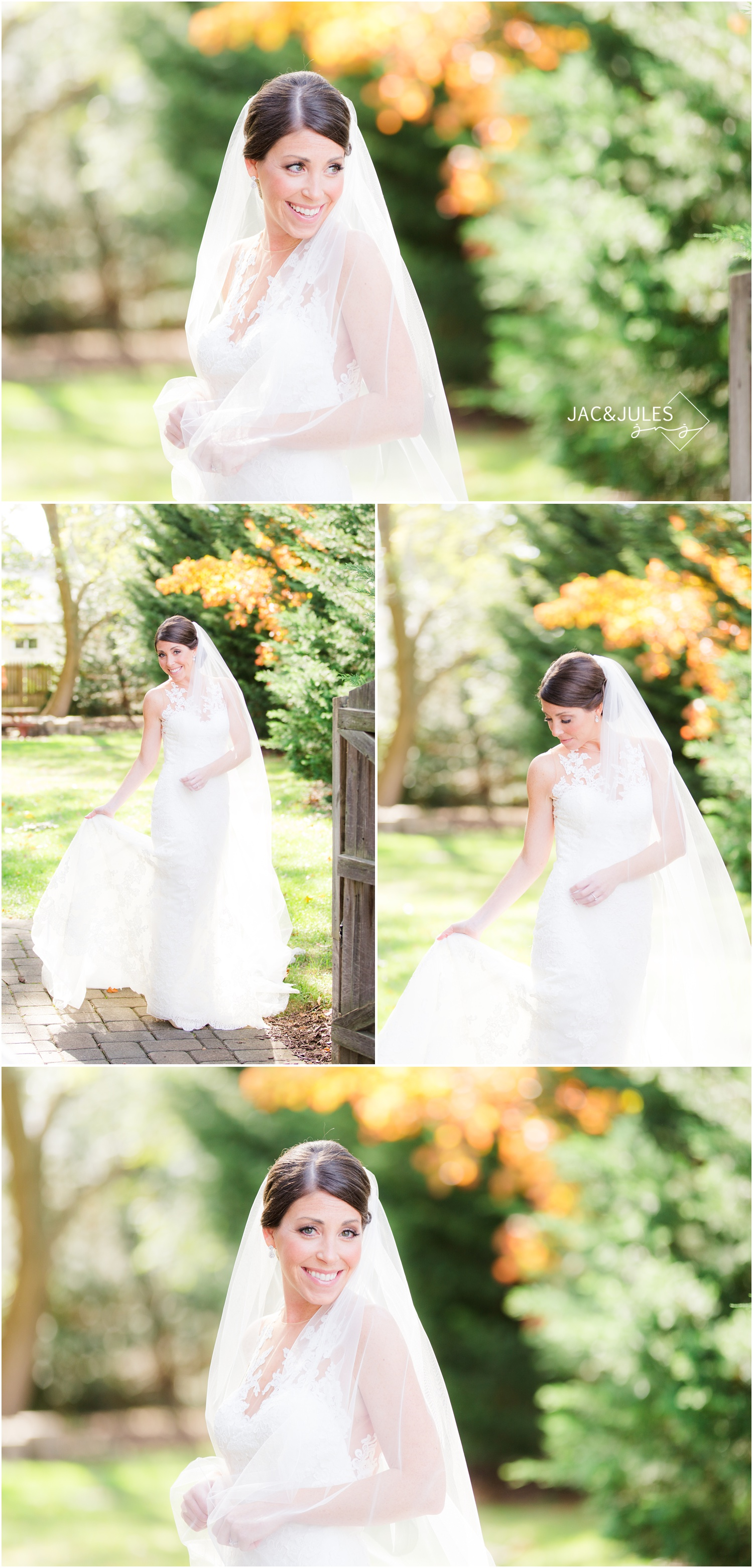 Bridal portraits outside Mom's house in Point Pleasant, NJ.