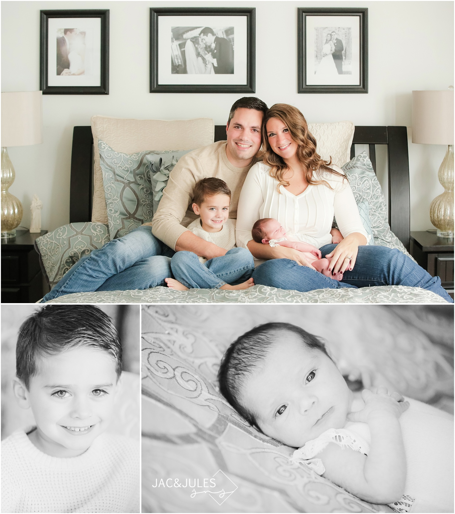 casual in home newborn and family photos on bed in toms river, nj.