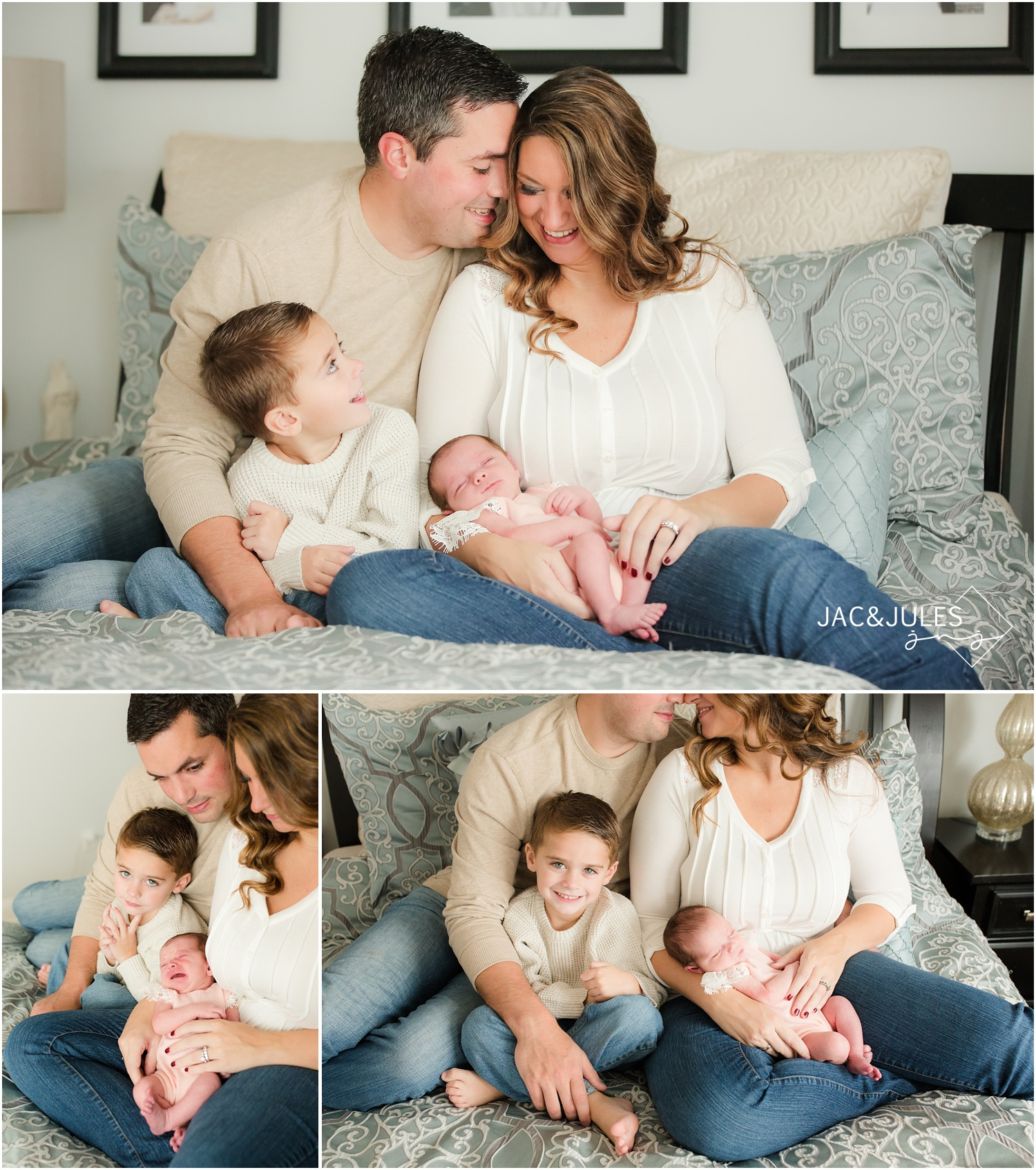 casual and candid in-home newborn and family photos on bed in toms river, nj.