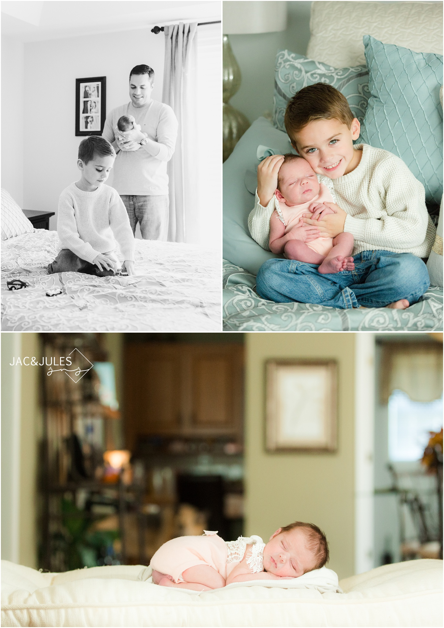 newborn baby girl with brother and dad in toms river, nj home.