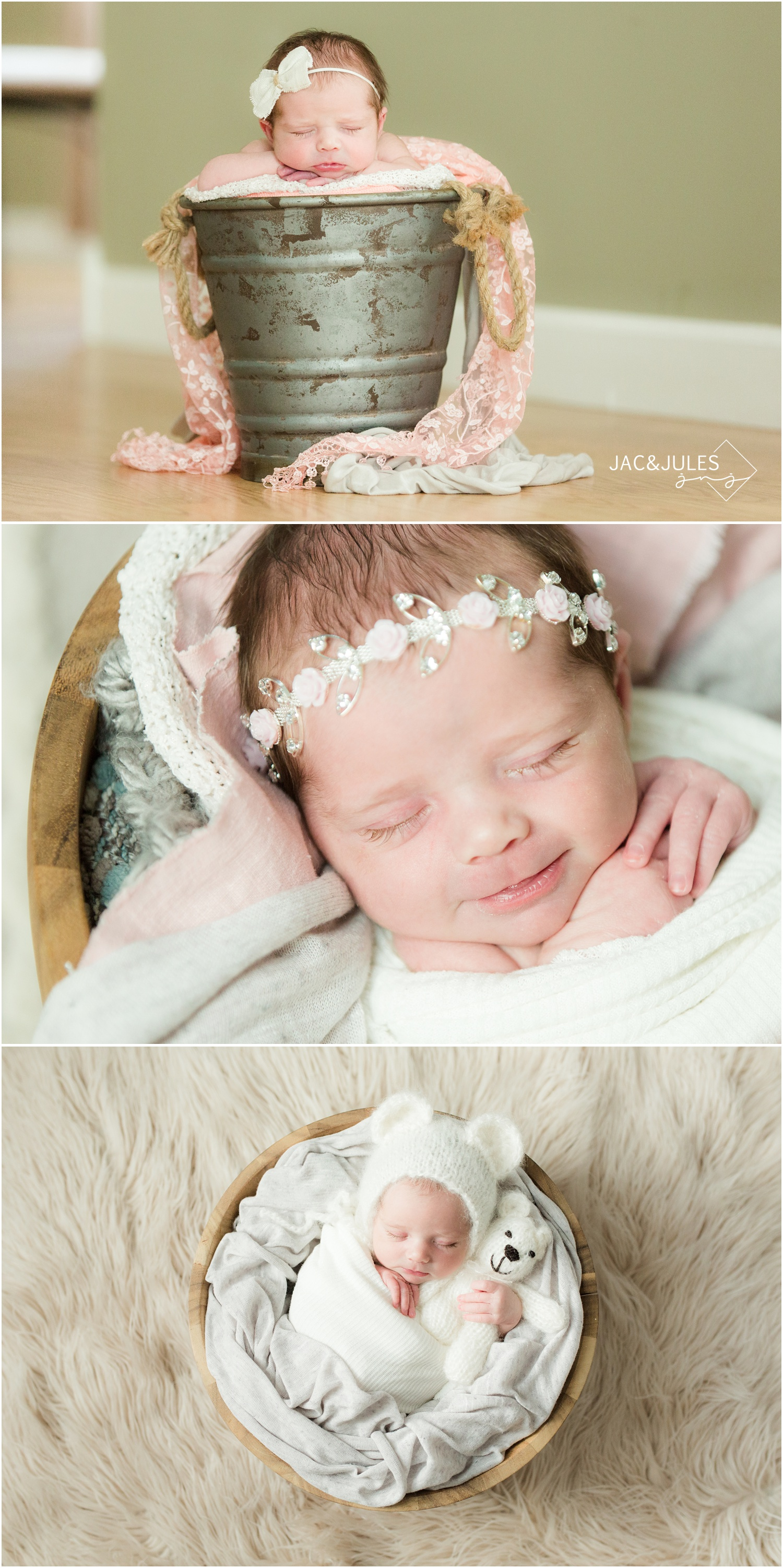 newborn baby girl with flower headband and bear bonnet.