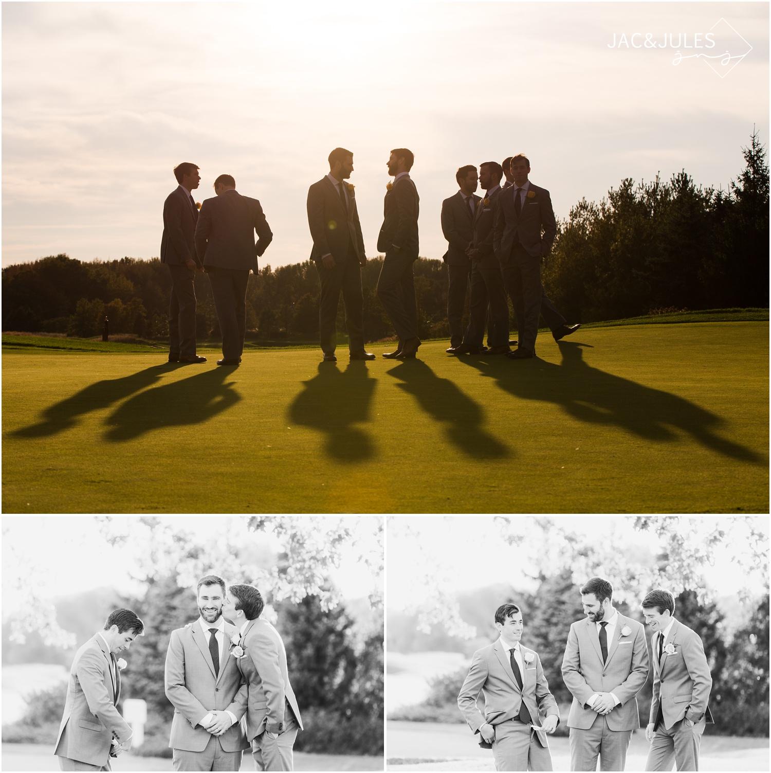 Groomsmen photos on golf course in Farmingdale, NJ.