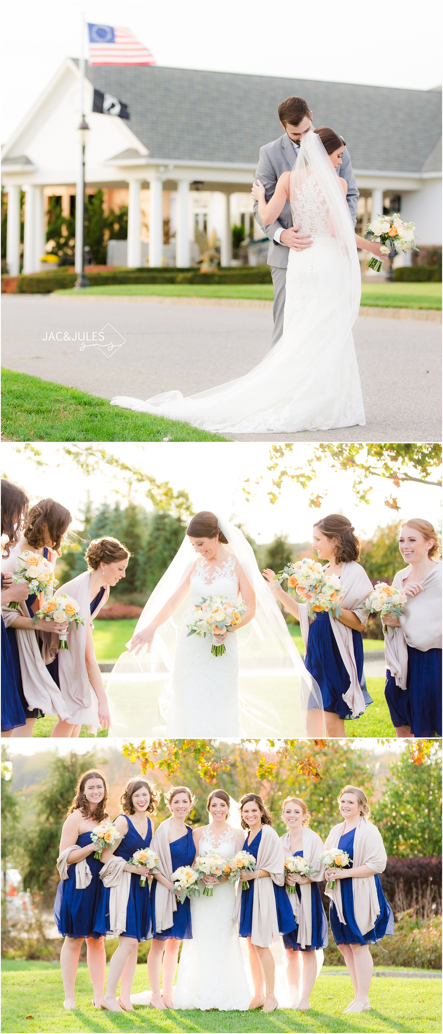 Bride and groom and bridesmaid photos for Eagle Oaks Golf and Country Club Wedding
