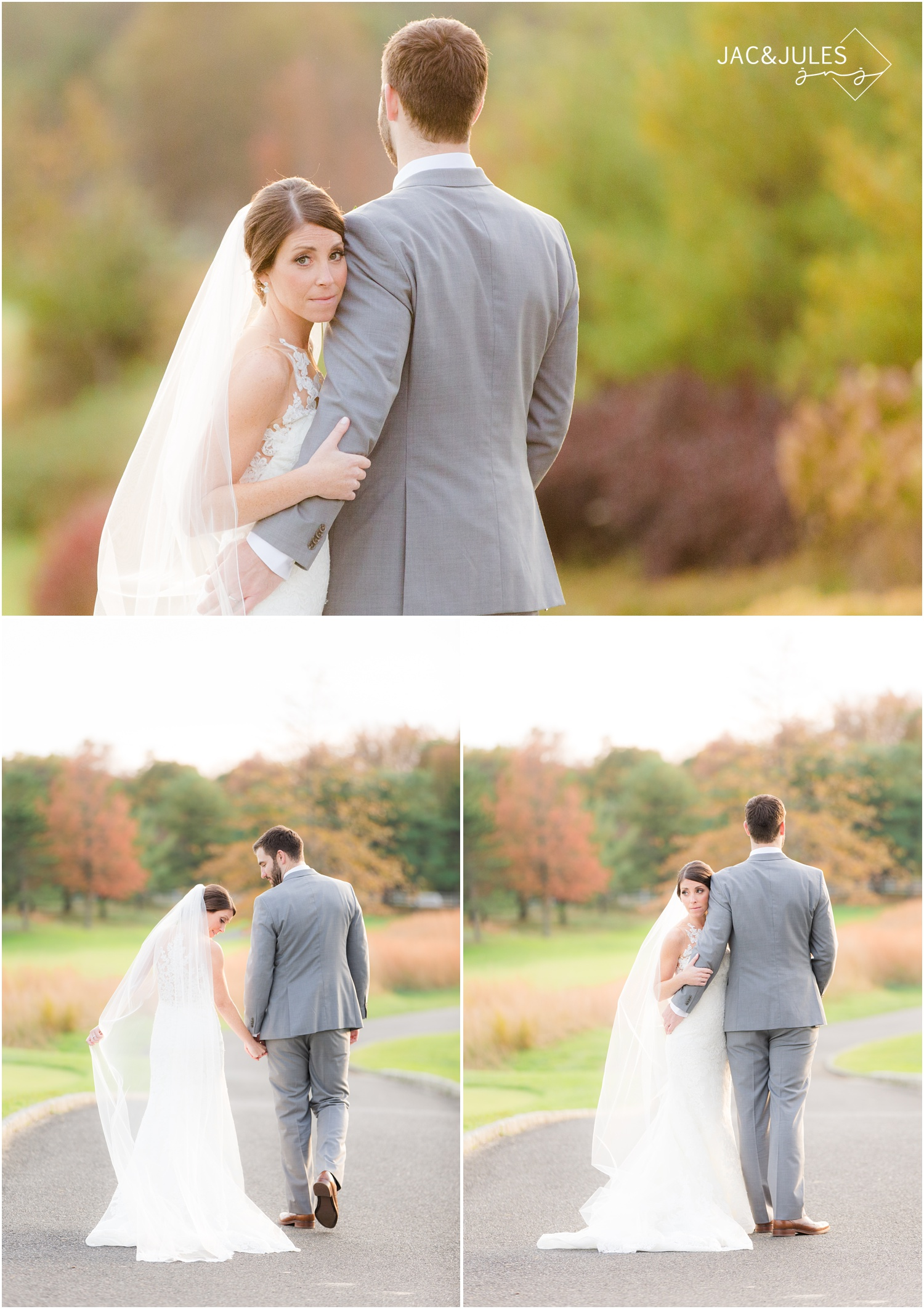 Bride and groom portraits in pretty fall colors at Eagle Oaks Golf and Country Club in Farmingdale, NJ.
