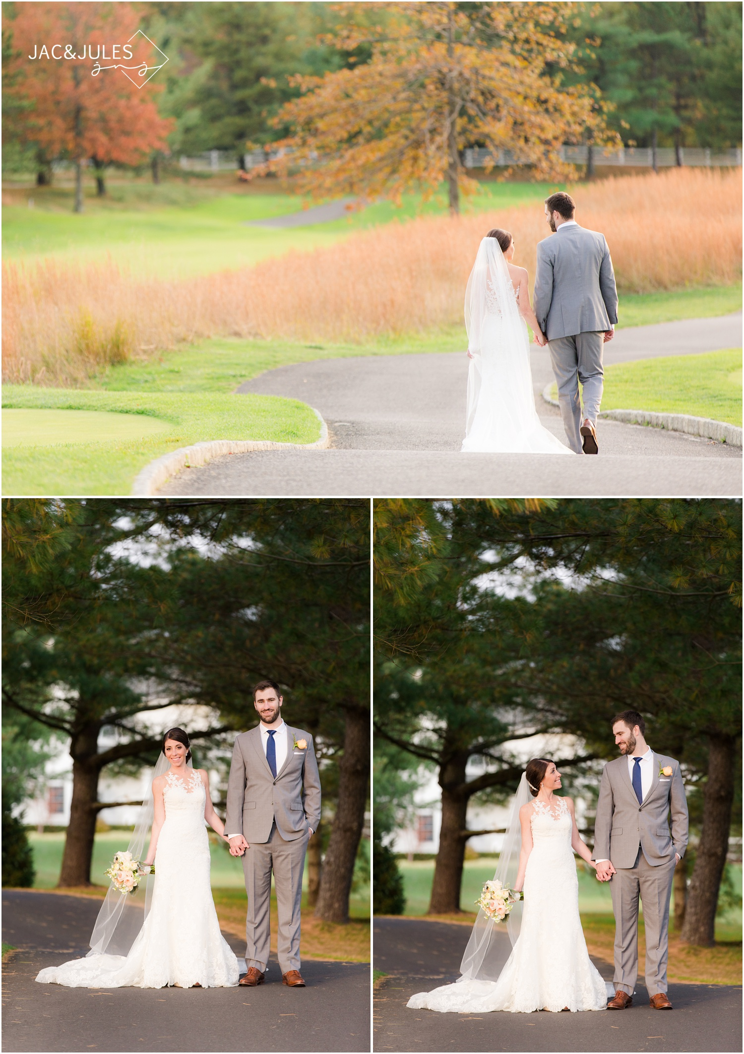 Bride and groom walking in path at Eagle Oaks Golf and Country Club in Farmingdale, NJ.