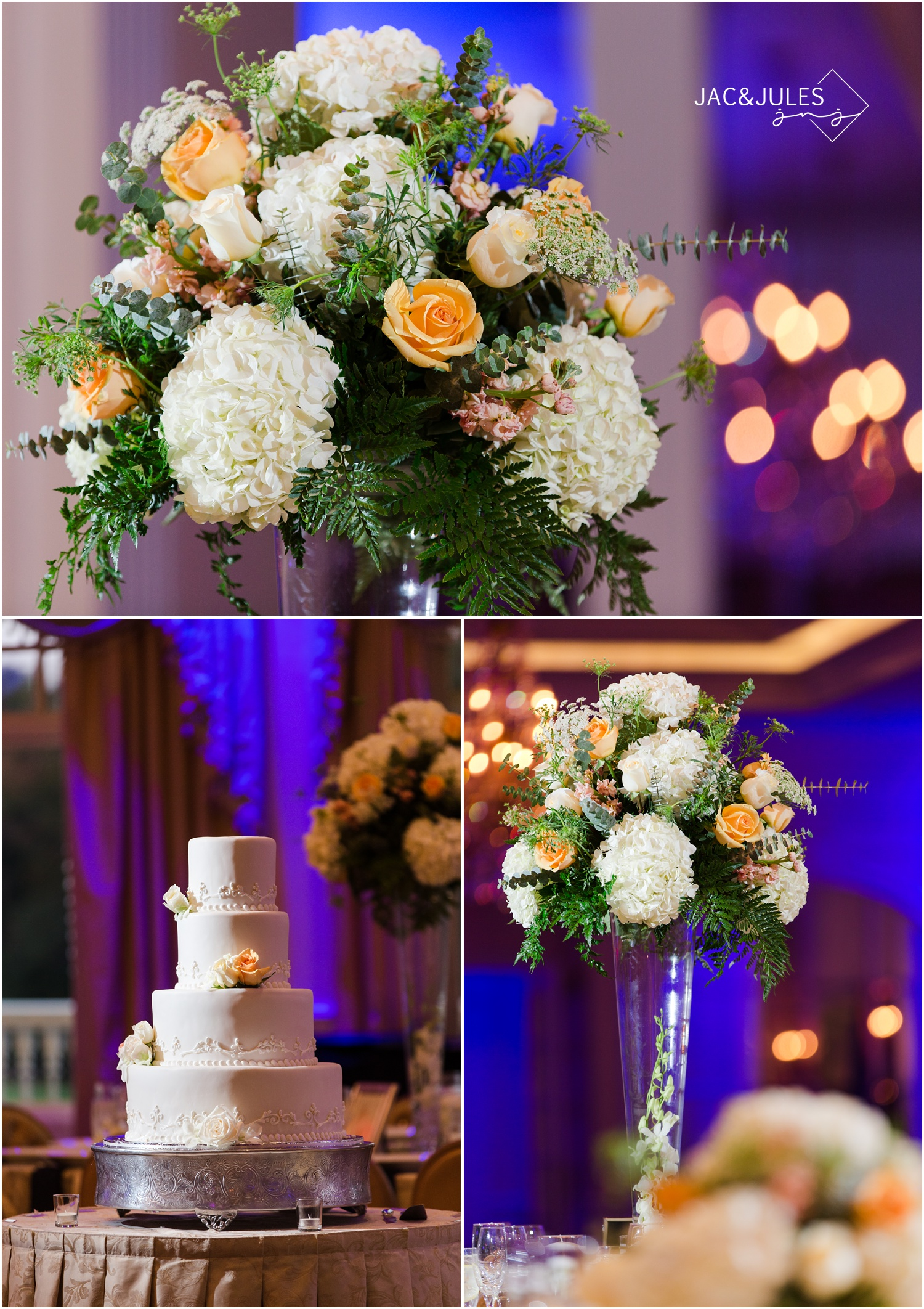 Wedding cake and floral decor at Eagle Oaks Golf and Country Club in Farmingdale, NJ.