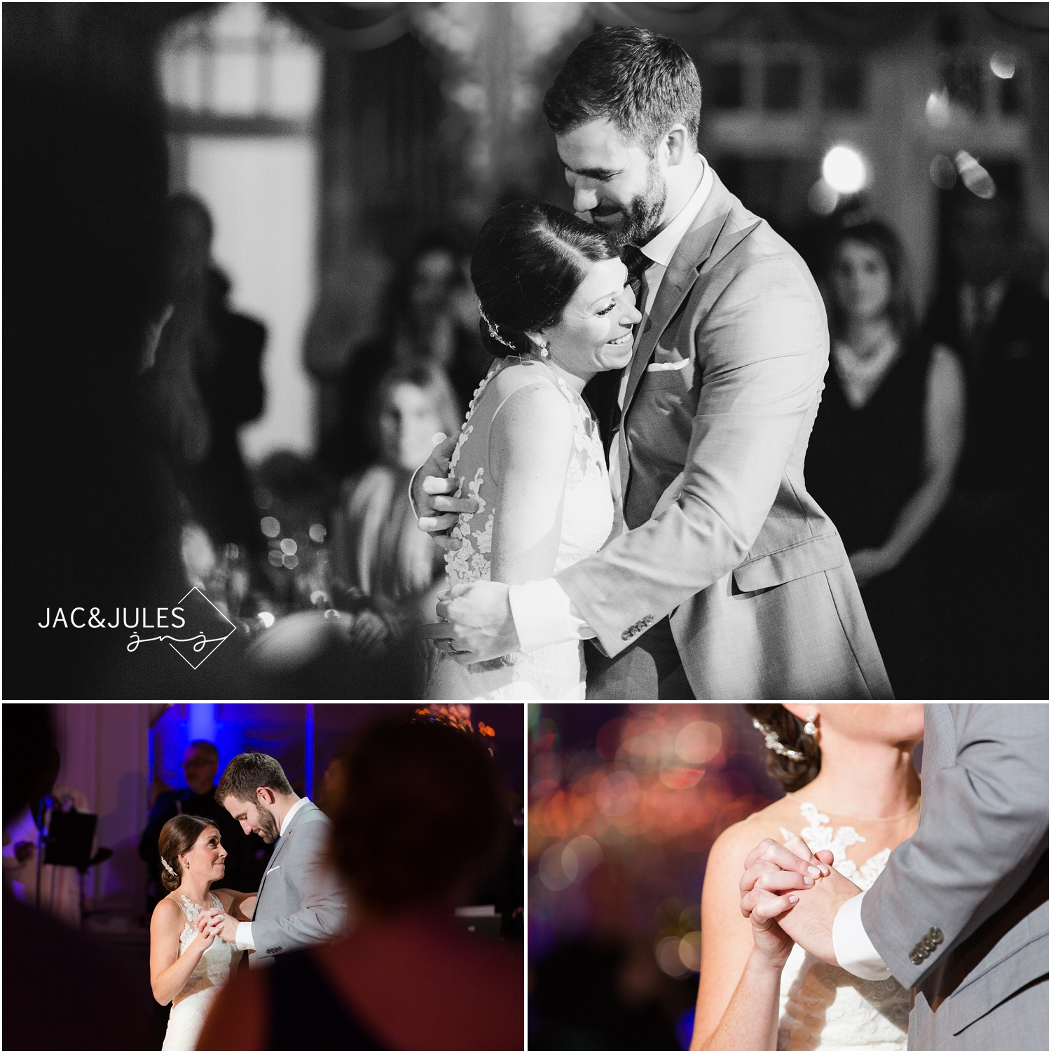 Bride and groom first dance at Eagle Oaks Golf and Country Club in Farmingdale, NJ.