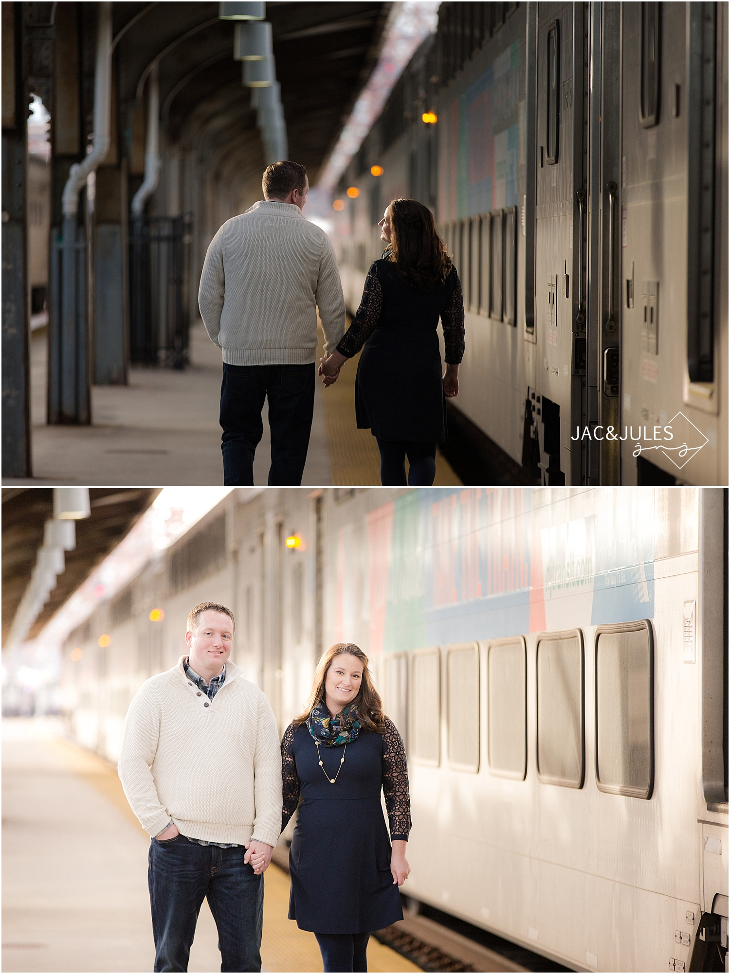 jacnjules photograph engagement photo at Hoboken train station in NJ