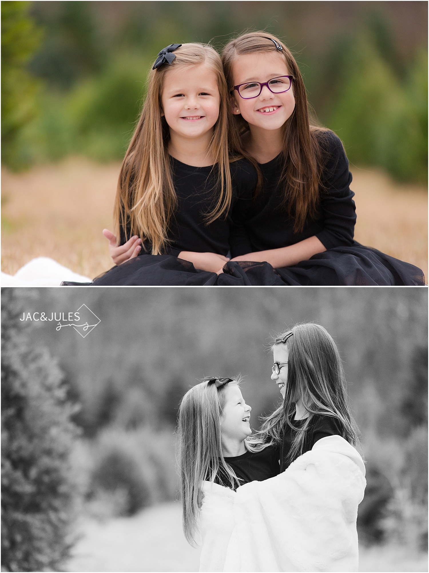 jacnjules photographs adorable girls for their holiday photos at lone silo tree farm in NJ