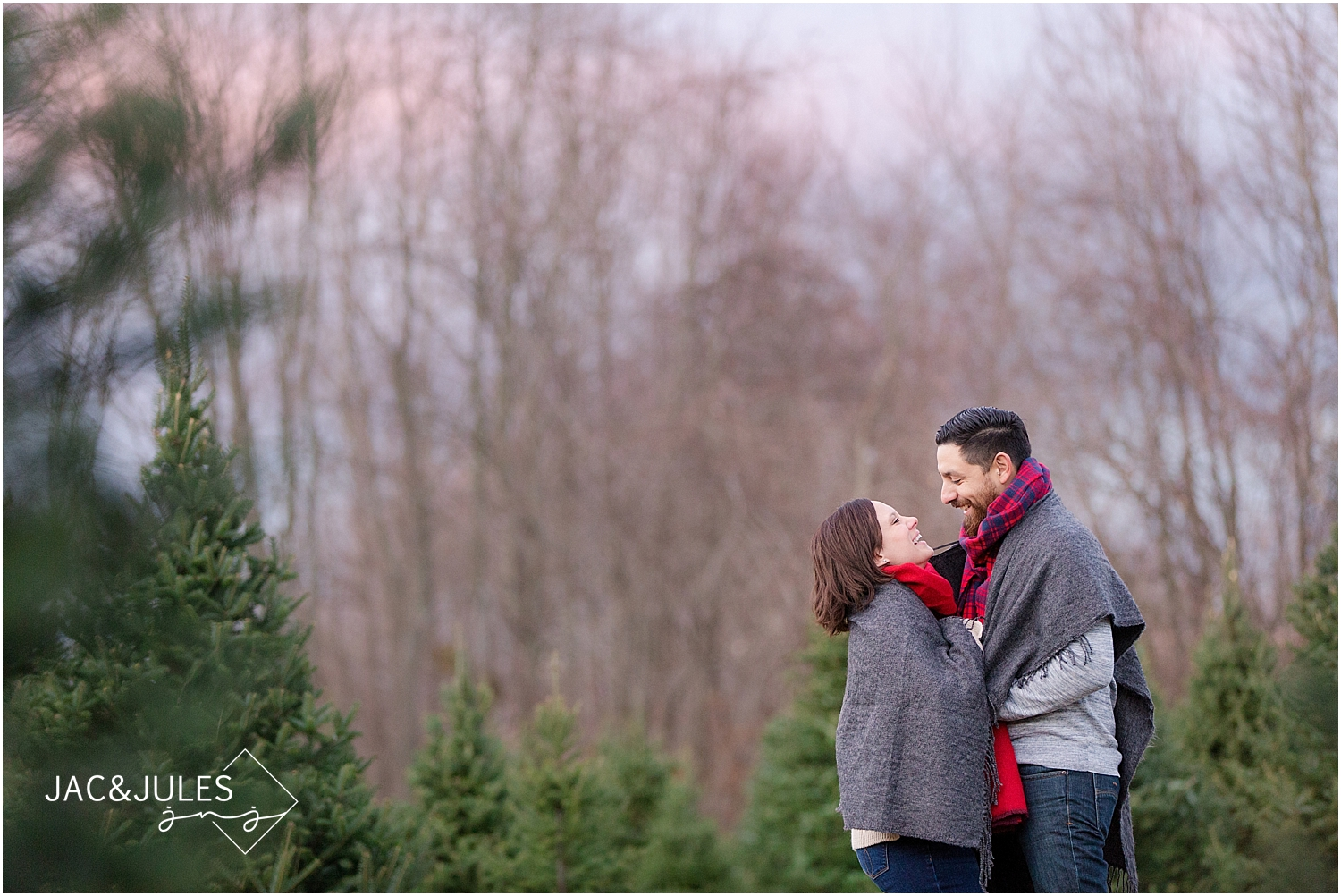 jacnjules photographs holiday engagement at lone silo tree farm in NJ