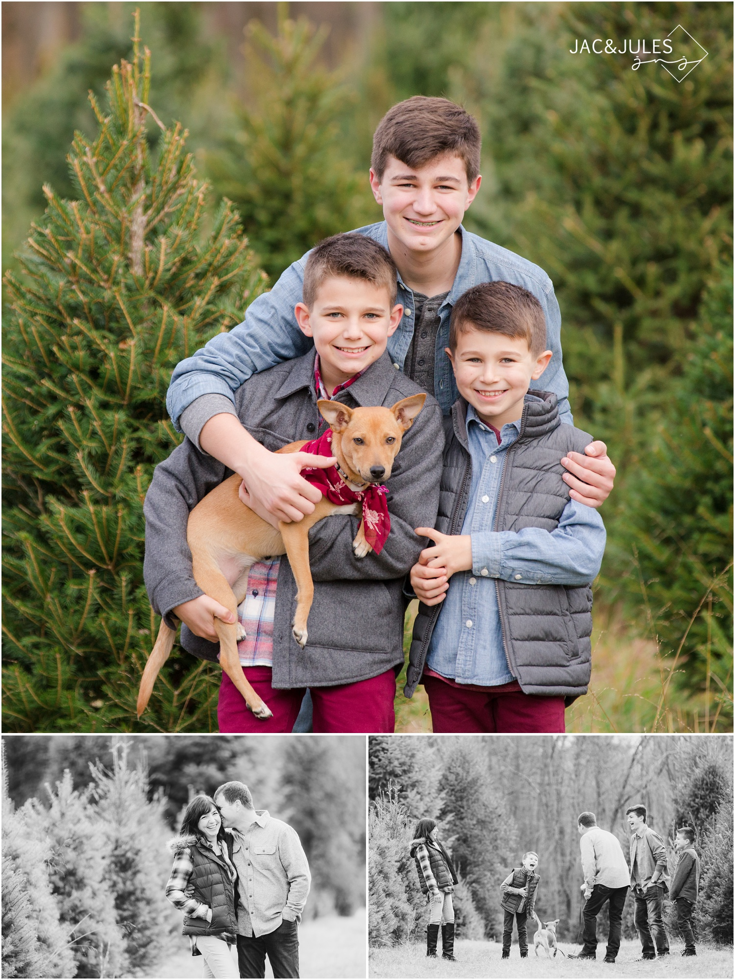jacnjules photographs children for their christmas photos at Lone Silo Tree Farm in New Egypt NJ using natural light