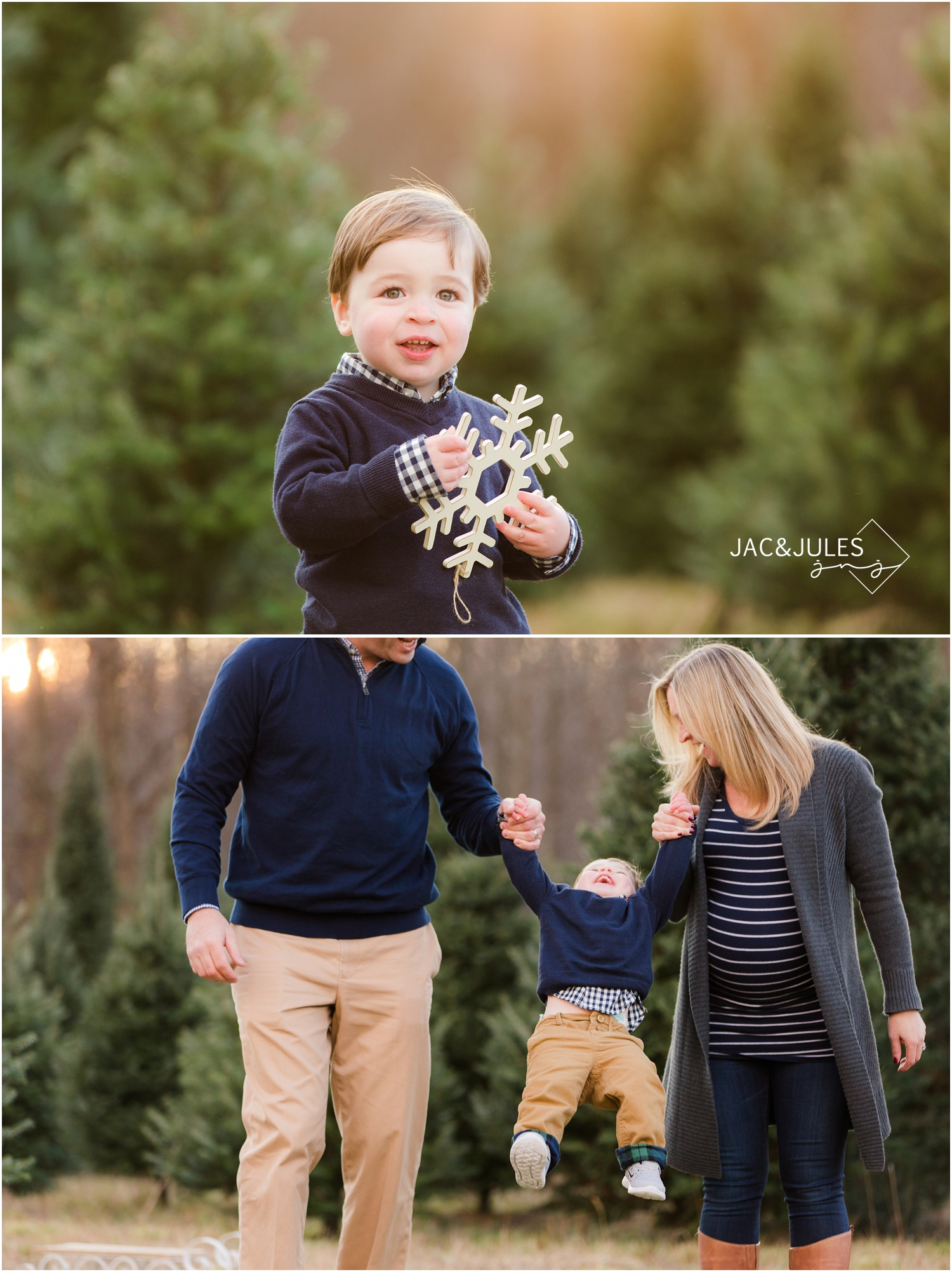 jacnjules photographs family for their christmas photos at Lone Silo Tree Farm in New Egypt NJ using natural light