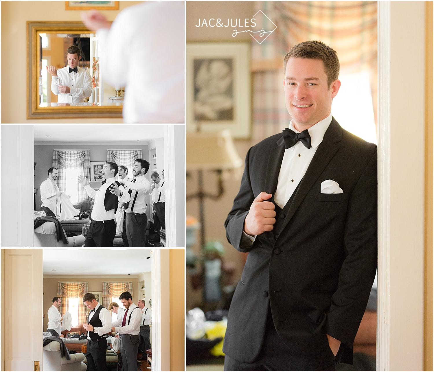 jacnjules photograph groom getting ready for his wedding in Allenwood, NJ