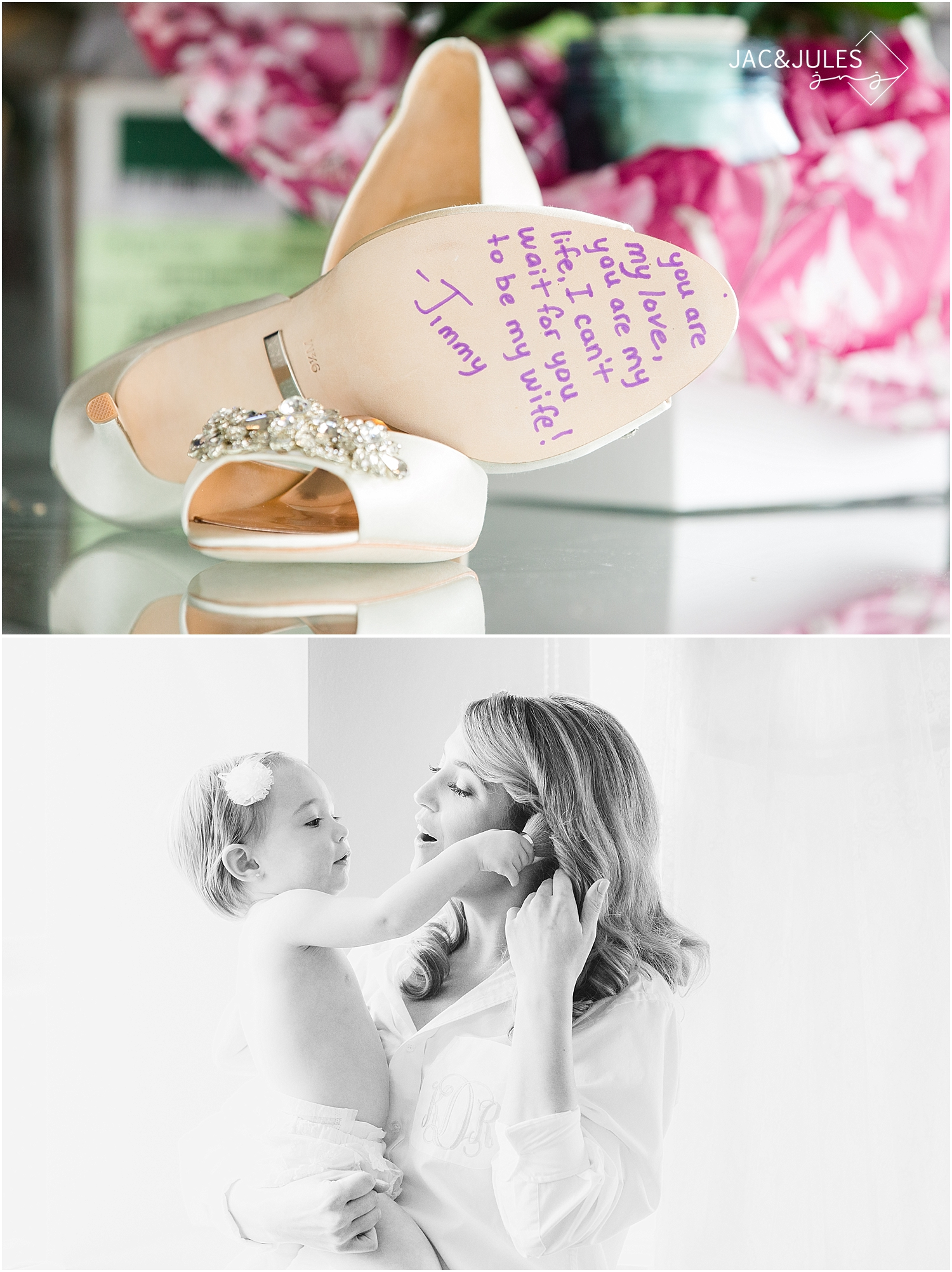 jacnjules photographs brides shoes and flower girl at Oyster Point
