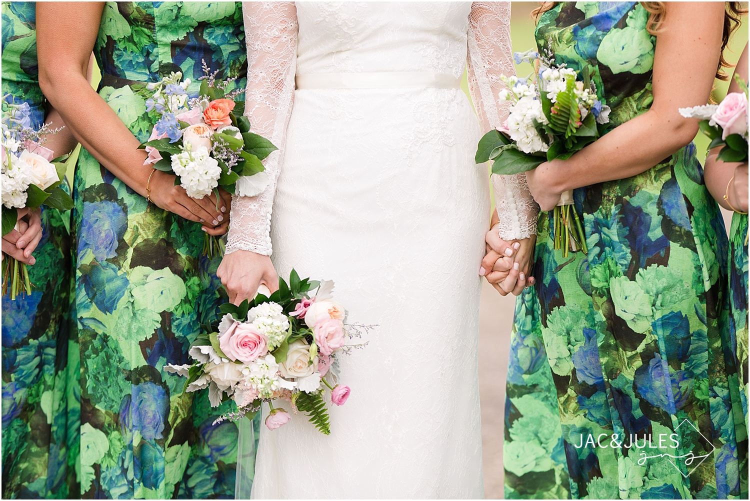 jacnjules photograph bridesmaid dresses in floral prints at Allaire wedding