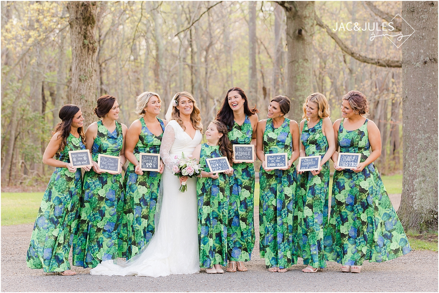 jacnjules photograph bride and bridesmaids holding chalkboard signs