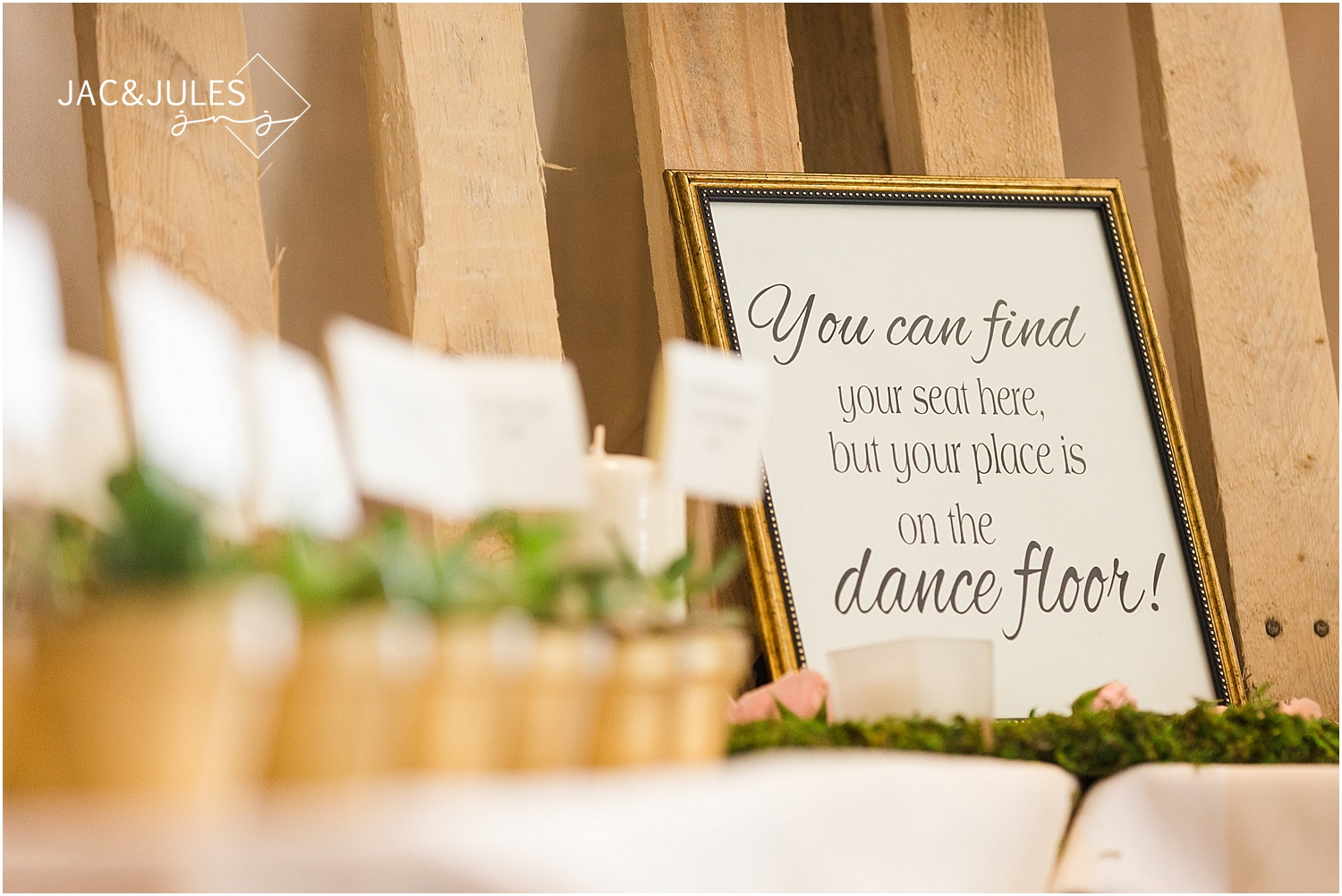 jacnjules photographs custom sign for the wedding guests at Oyster Point in Red Bank NJ