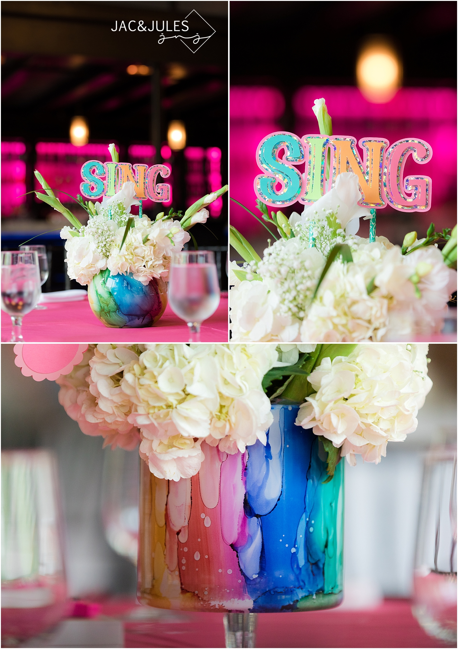 rainbow centerpieces party decor