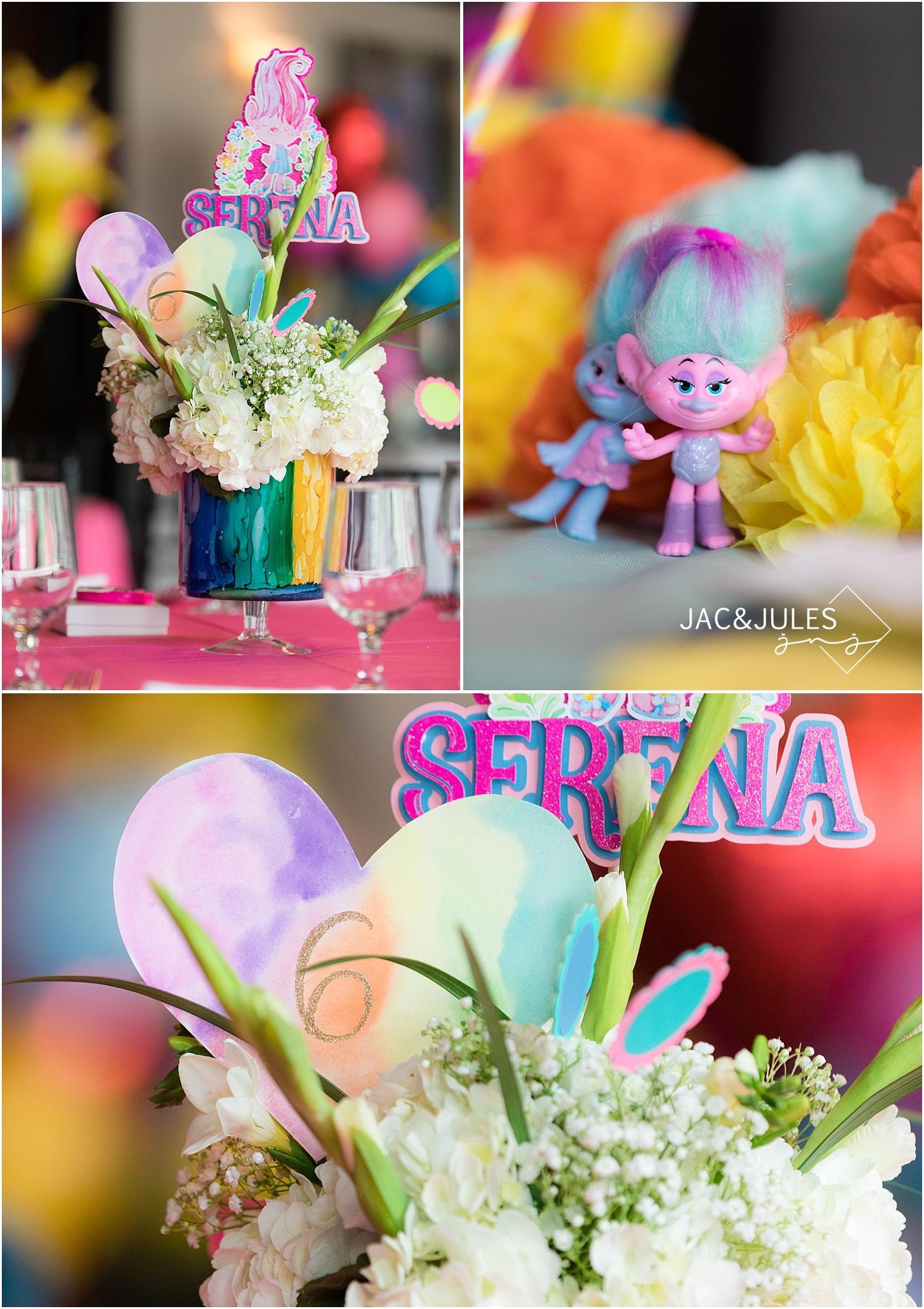 troll themed birthday party decor