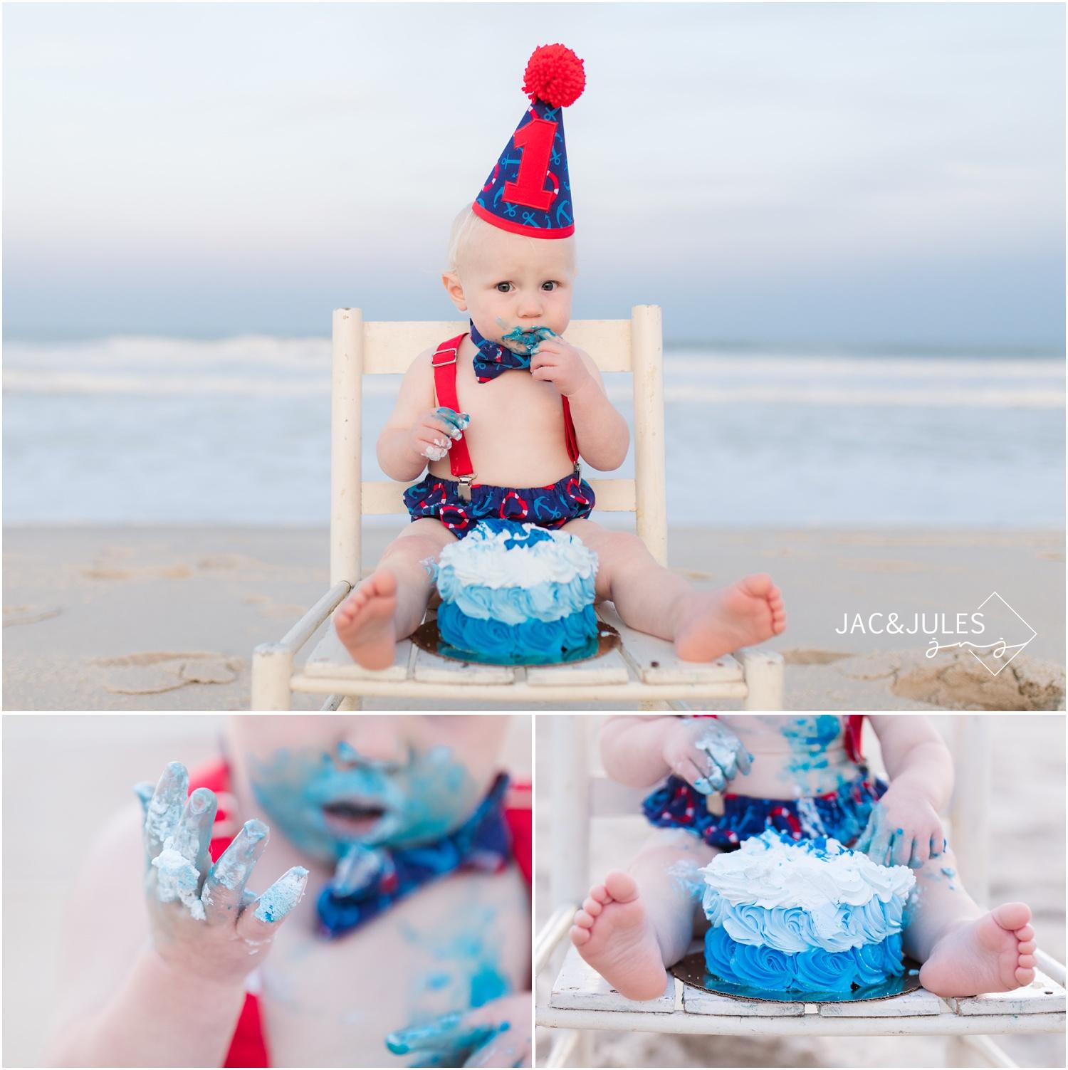 First birthday cake smash photos at Island beach State Park in Seaside Park, nj.