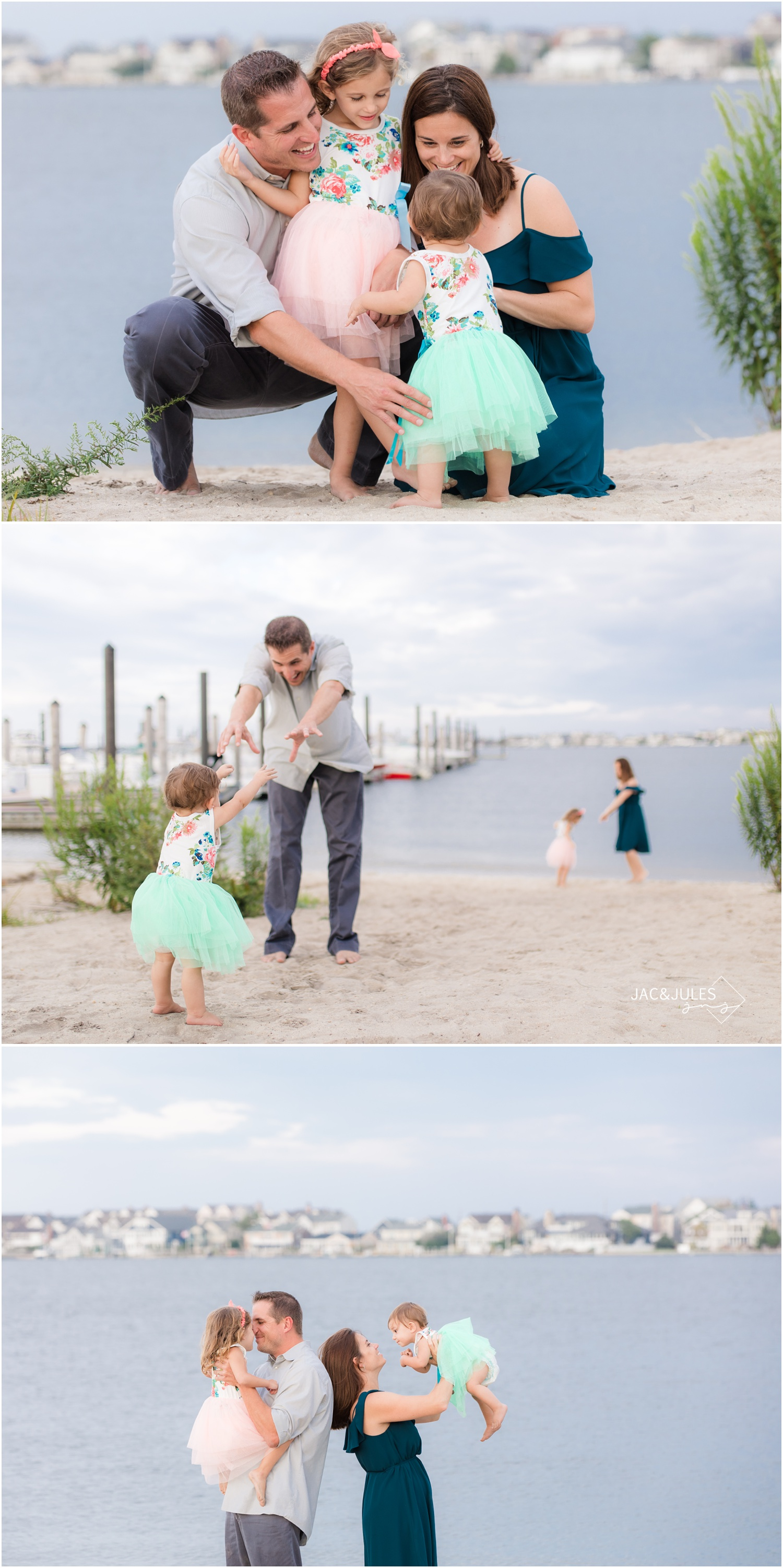 fun candid family photos on the bay in Mantoloking, NJ.