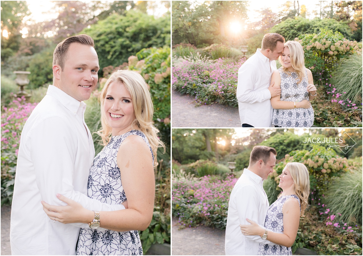 golden sunny Engagement photos at Van Vleck House and Gardens in Montclair, NJ.